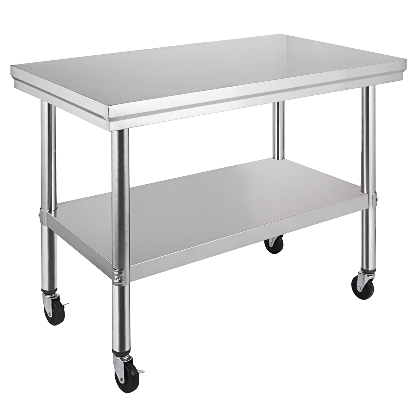 30 Quot X24 Quot Stainless Steel Work Table With 4 Casters Shelving