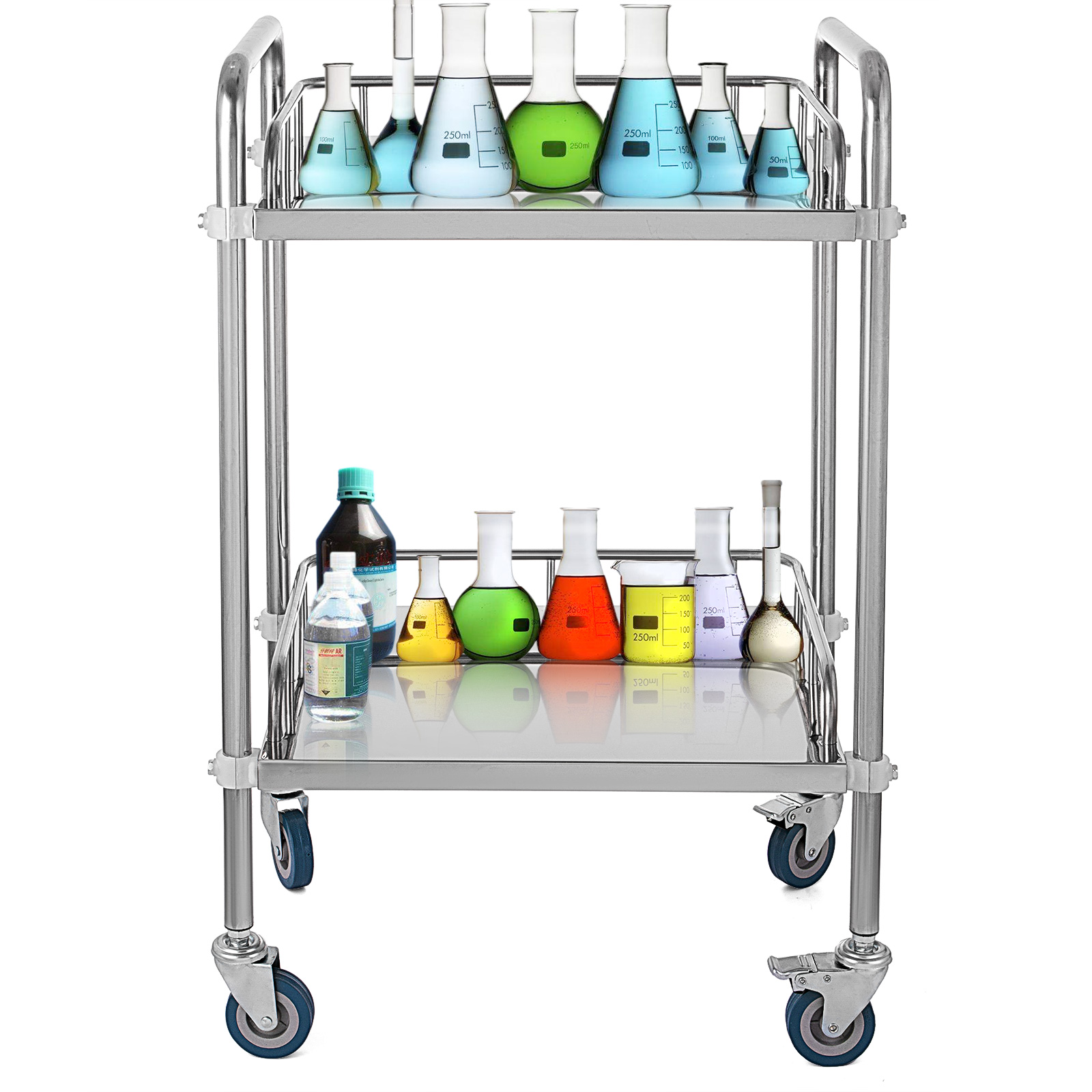 thumbnail 24 - Rolling Storage Cart Medical Salon Trolley Pedestal Rolling Cart Stainless Steel