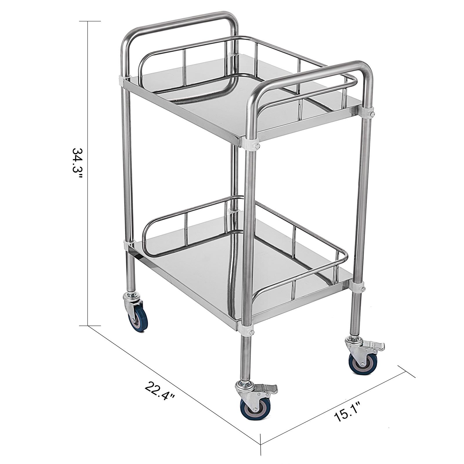 thumbnail 14 - Rolling Storage Cart Medical Salon Trolley Pedestal Rolling Cart Stainless Steel