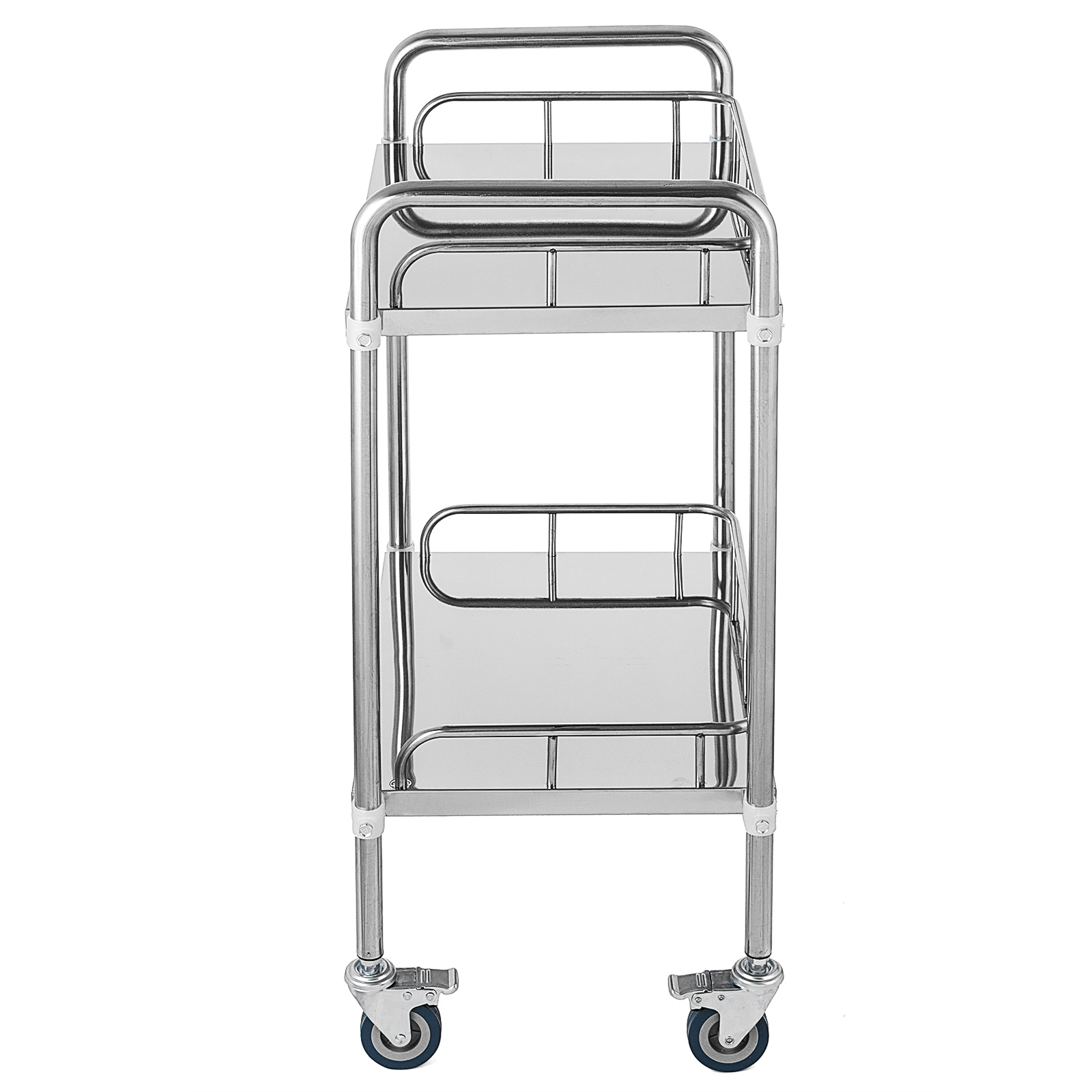 thumbnail 16 - Rolling Storage Cart Medical Salon Trolley Pedestal Rolling Cart Stainless Steel
