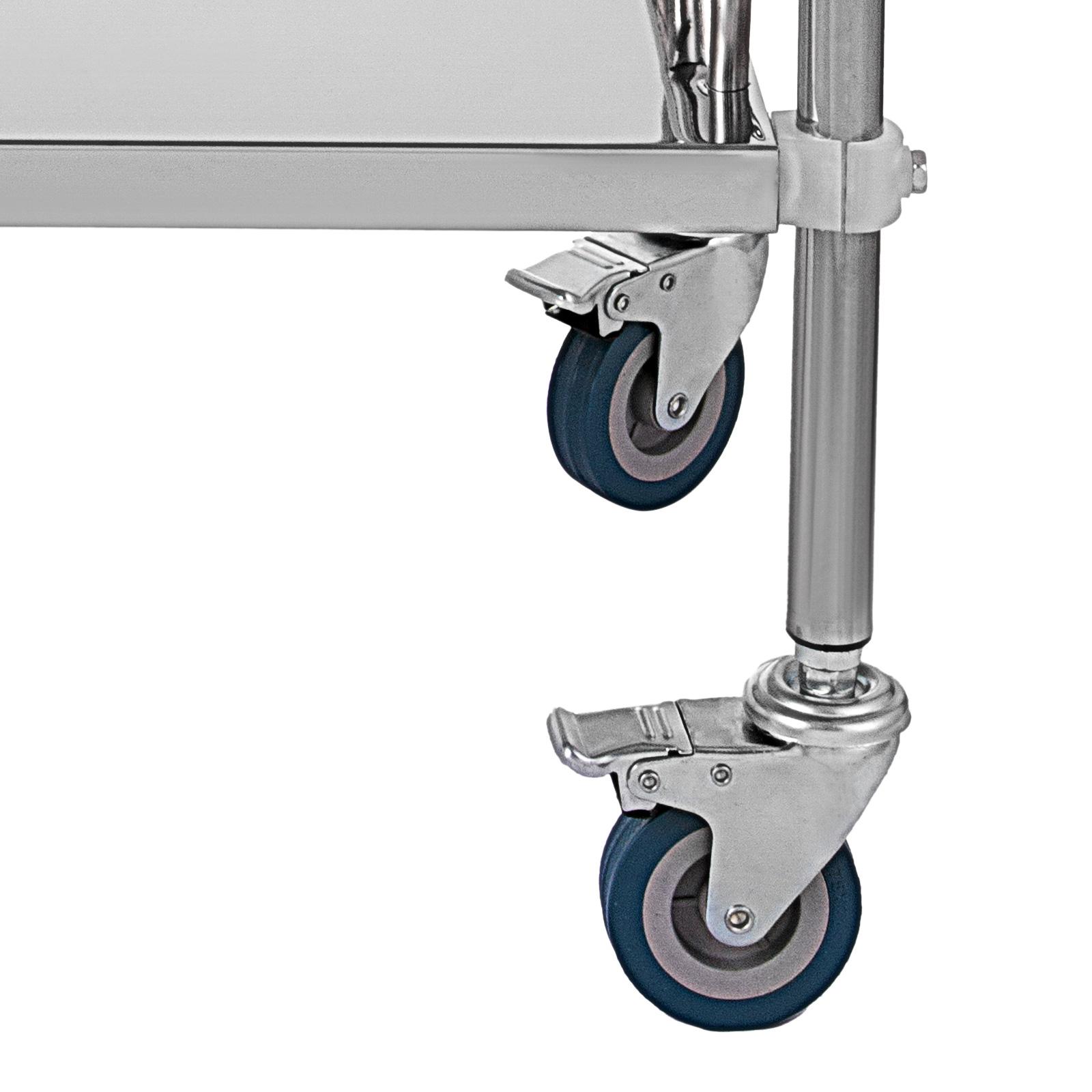 thumbnail 20 - Rolling Storage Cart Medical Salon Trolley Pedestal Rolling Cart Stainless Steel