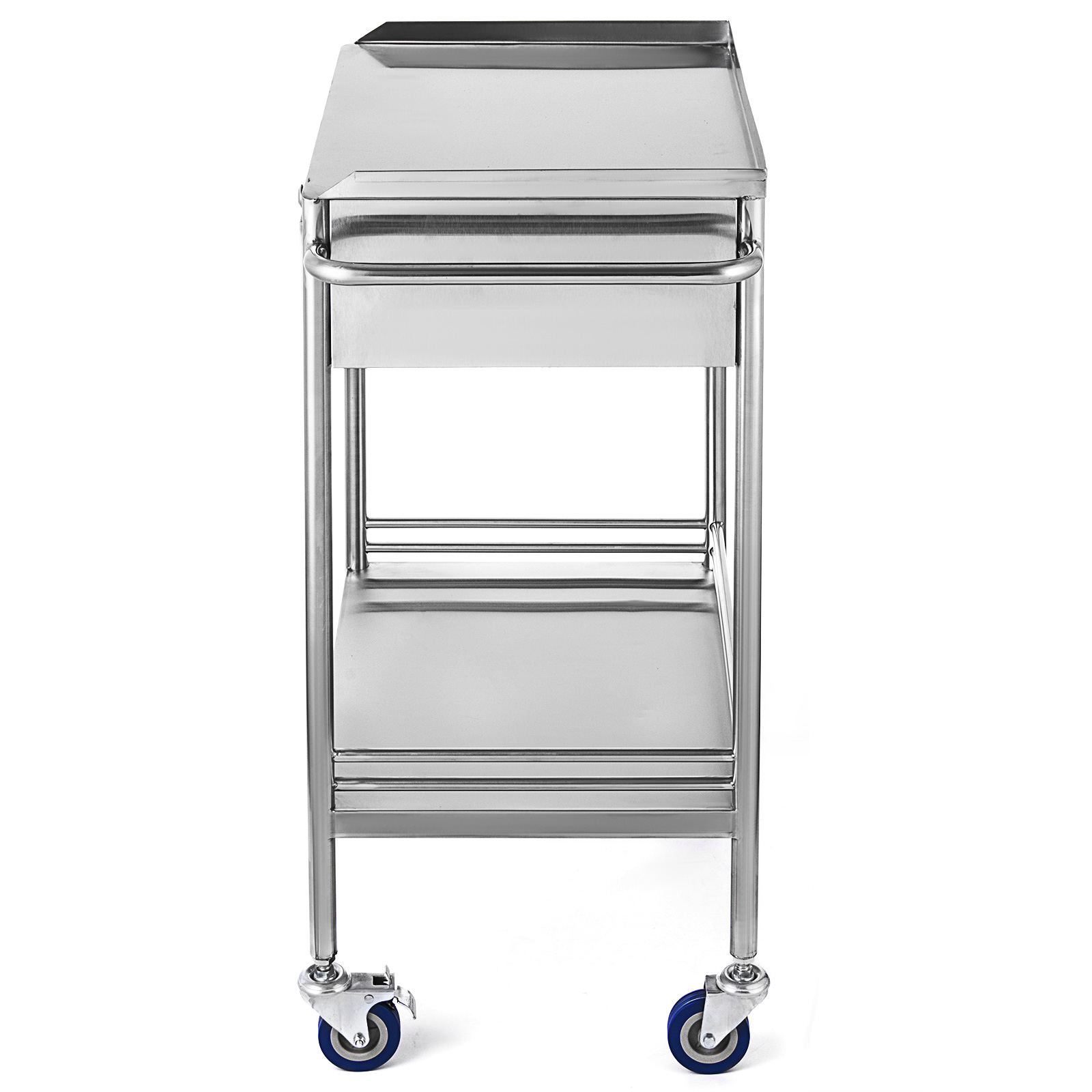 thumbnail 34 - Rolling Storage Cart Medical Salon Trolley Pedestal Rolling Cart Stainless Steel
