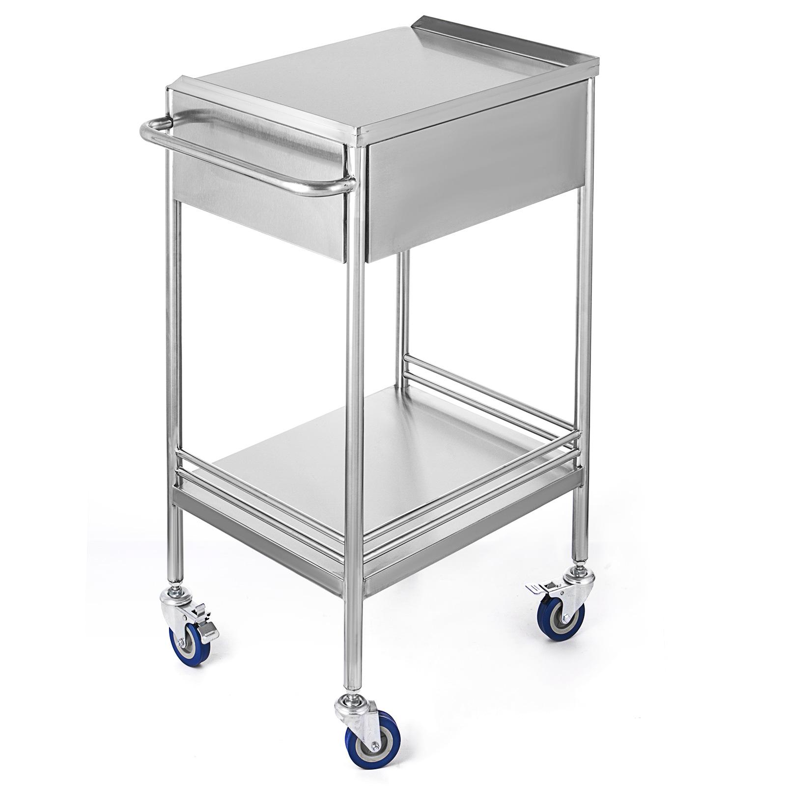 thumbnail 35 - Rolling Storage Cart Medical Salon Trolley Pedestal Rolling Cart Stainless Steel