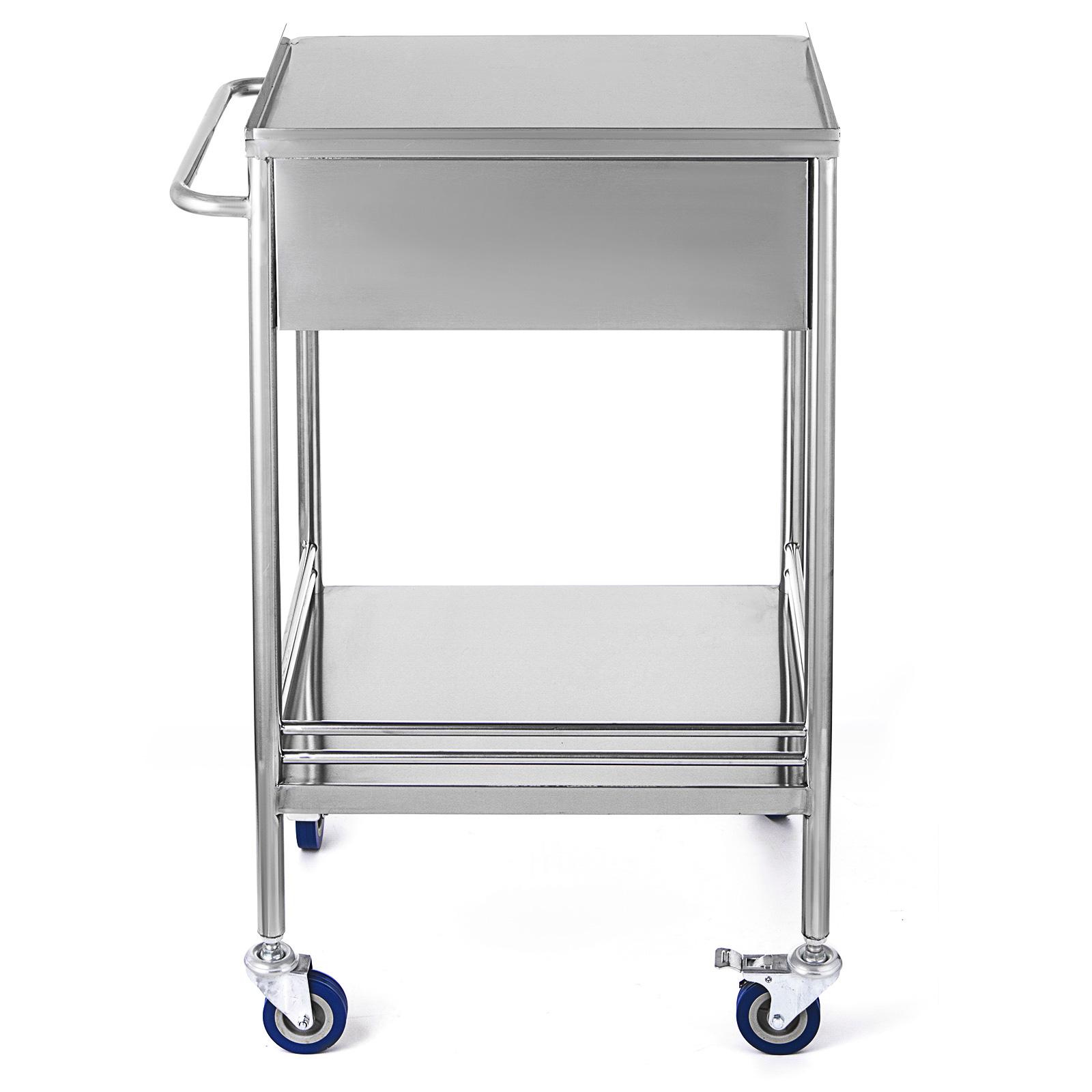 thumbnail 36 - Rolling Storage Cart Medical Salon Trolley Pedestal Rolling Cart Stainless Steel