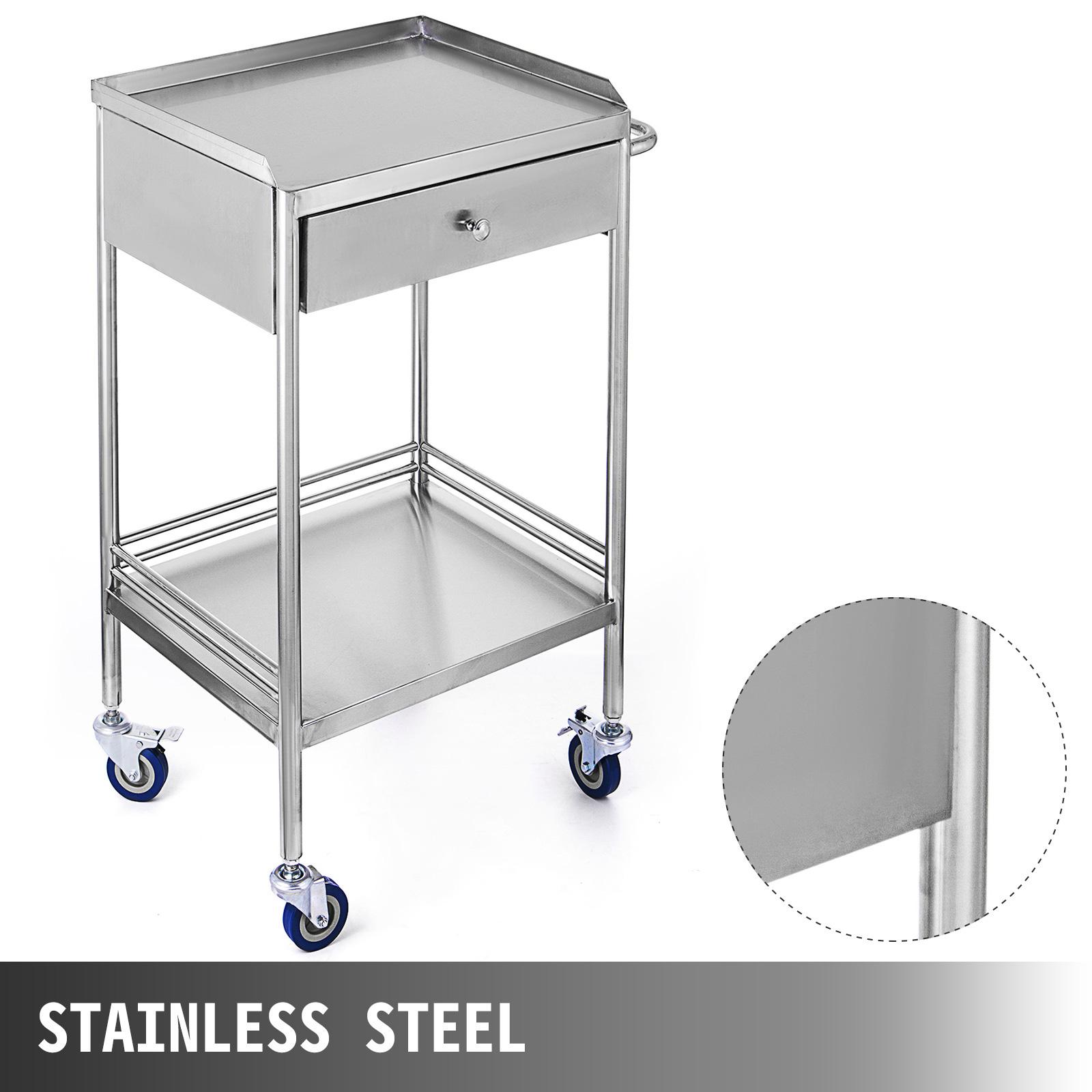 thumbnail 26 - Rolling Storage Cart Medical Salon Trolley Pedestal Rolling Cart Stainless Steel