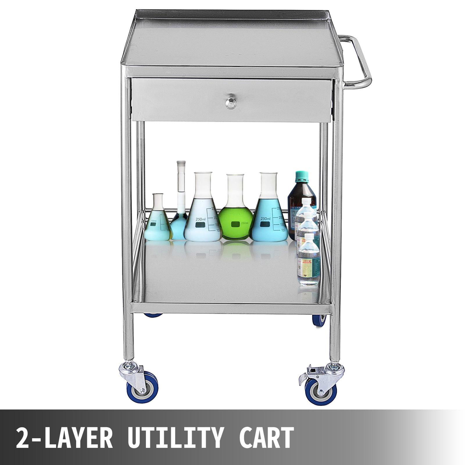 thumbnail 27 - Rolling Storage Cart Medical Salon Trolley Pedestal Rolling Cart Stainless Steel