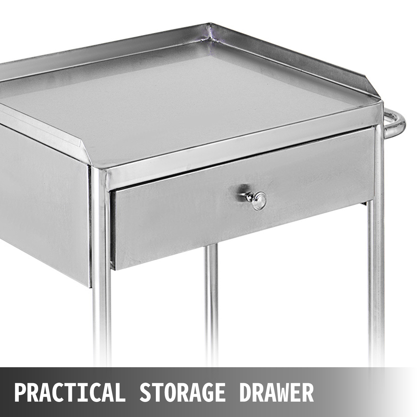 thumbnail 28 - Rolling Storage Cart Medical Salon Trolley Pedestal Rolling Cart Stainless Steel