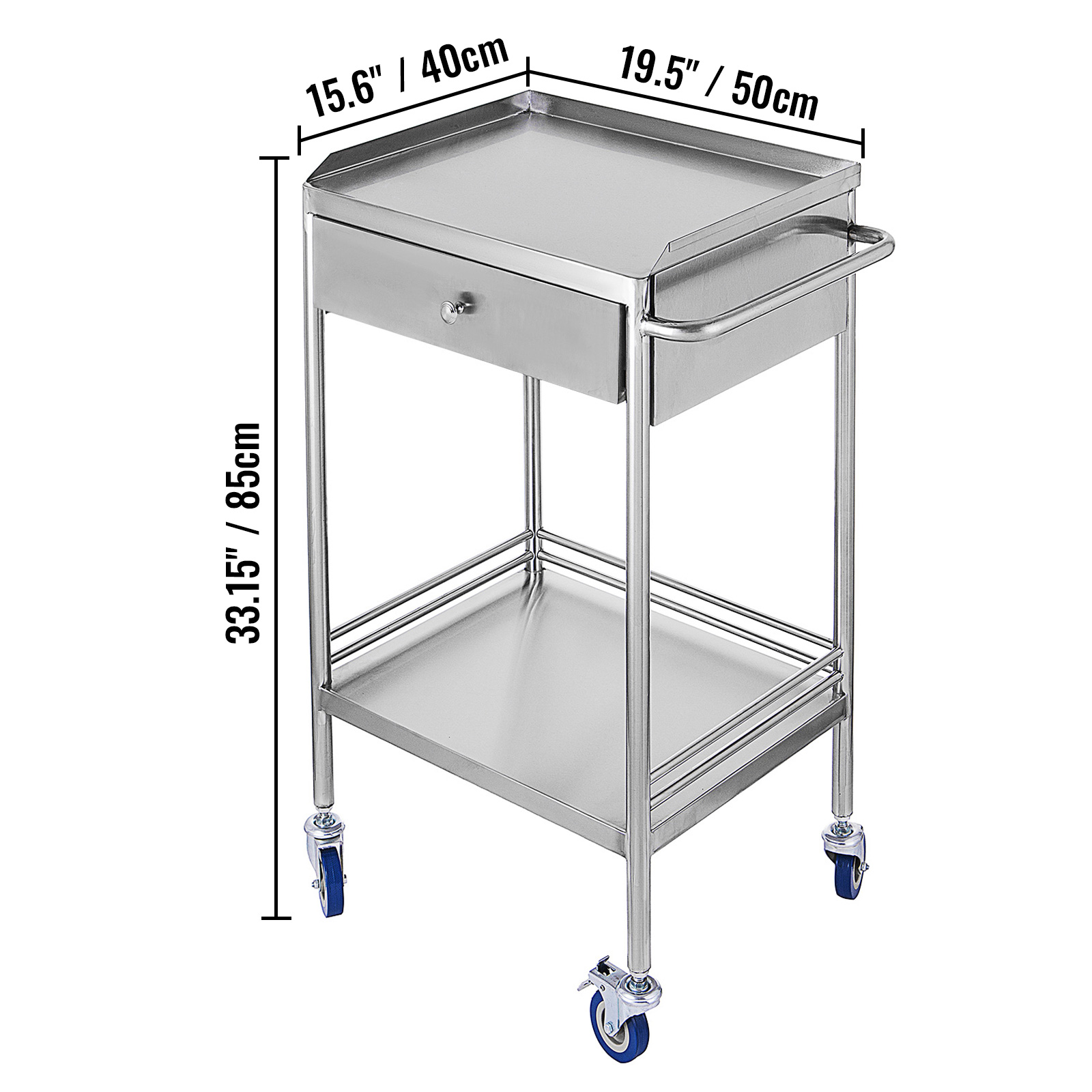 thumbnail 32 - Rolling Storage Cart Medical Salon Trolley Pedestal Rolling Cart Stainless Steel