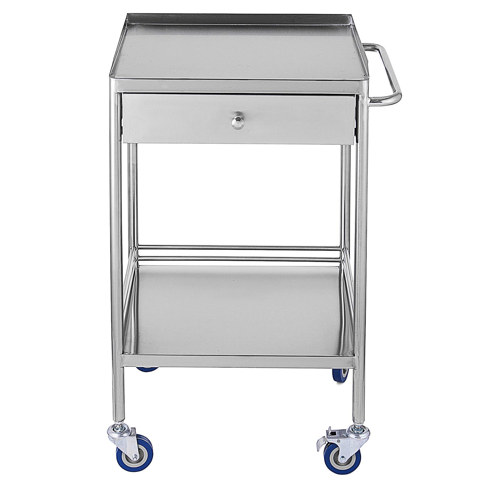 thumbnail 33 - Rolling Storage Cart Medical Salon Trolley Pedestal Rolling Cart Stainless Steel