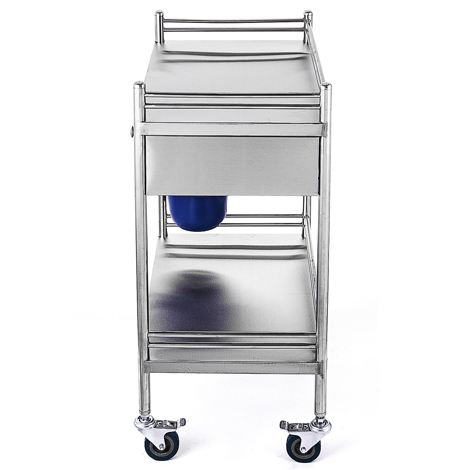 thumbnail 46 - Rolling Storage Cart Medical Salon Trolley Pedestal Rolling Cart Stainless Steel