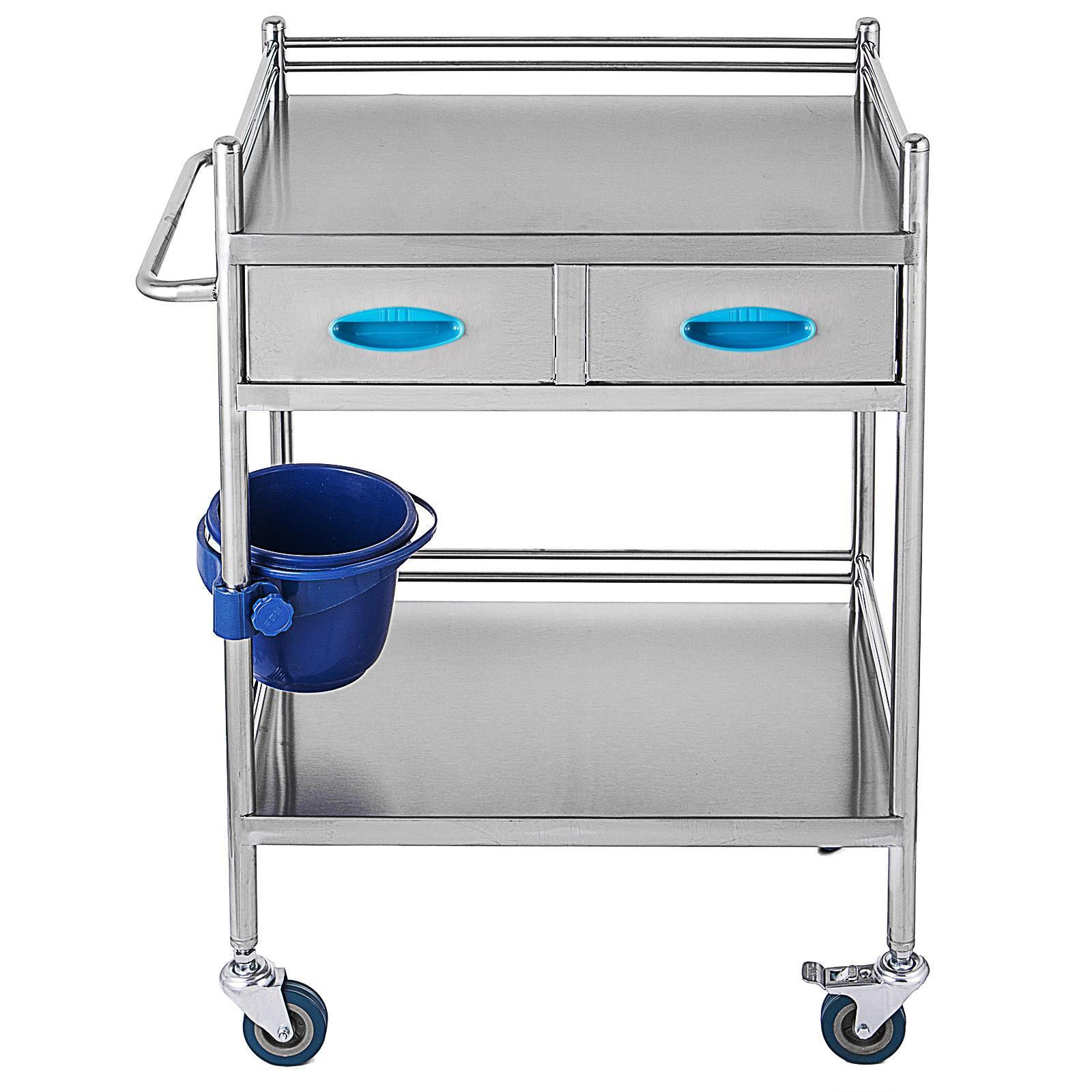 thumbnail 45 - Rolling Storage Cart Medical Salon Trolley Pedestal Rolling Cart Stainless Steel