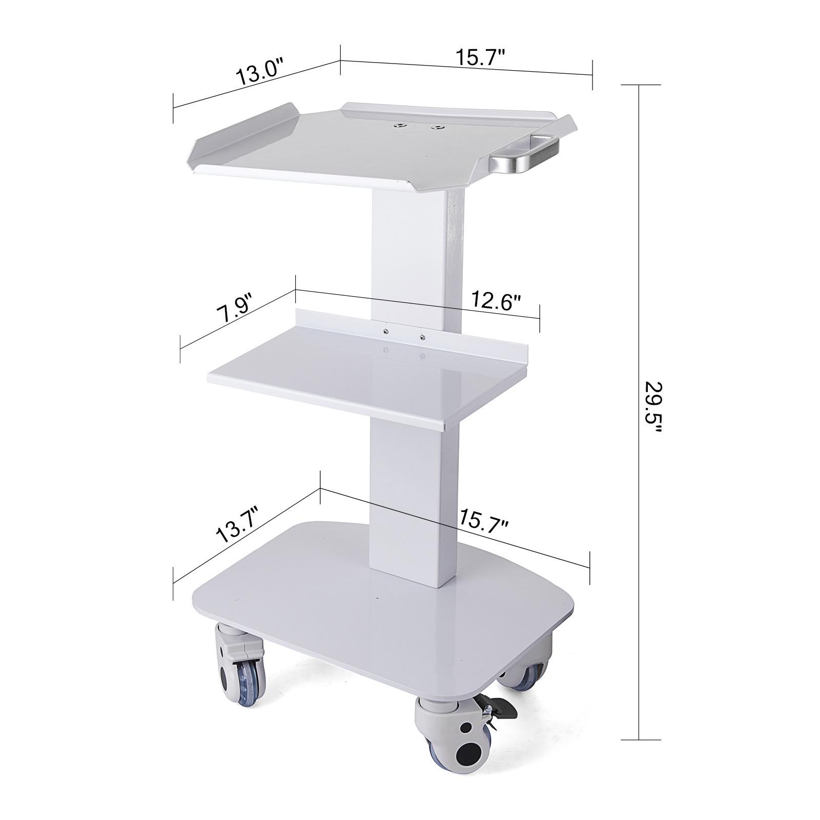 thumbnail 74 - Rolling Storage Cart Medical Salon Trolley Pedestal Rolling Cart Stainless Steel