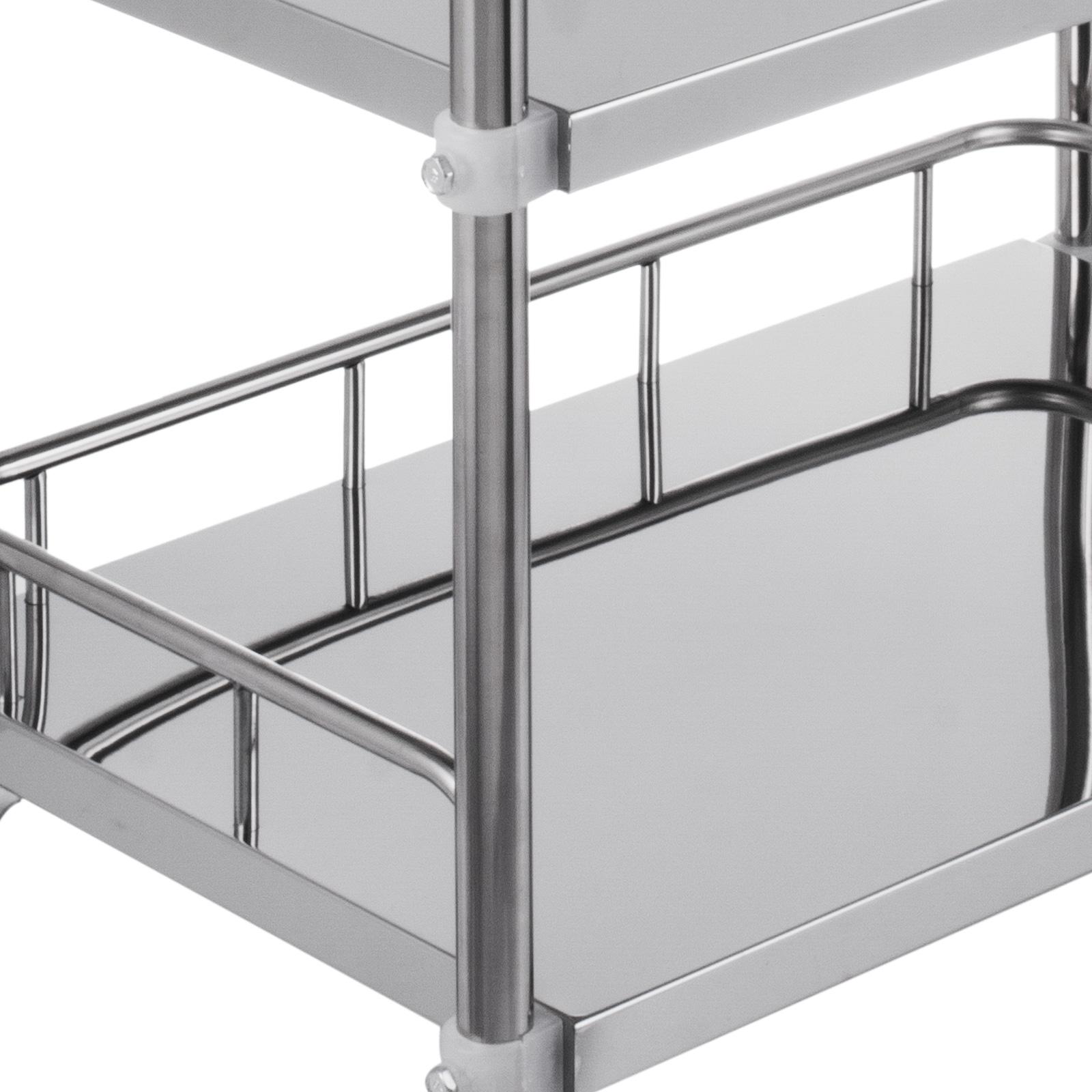 thumbnail 59 - Rolling Storage Cart Medical Salon Trolley Pedestal Rolling Cart Stainless Steel