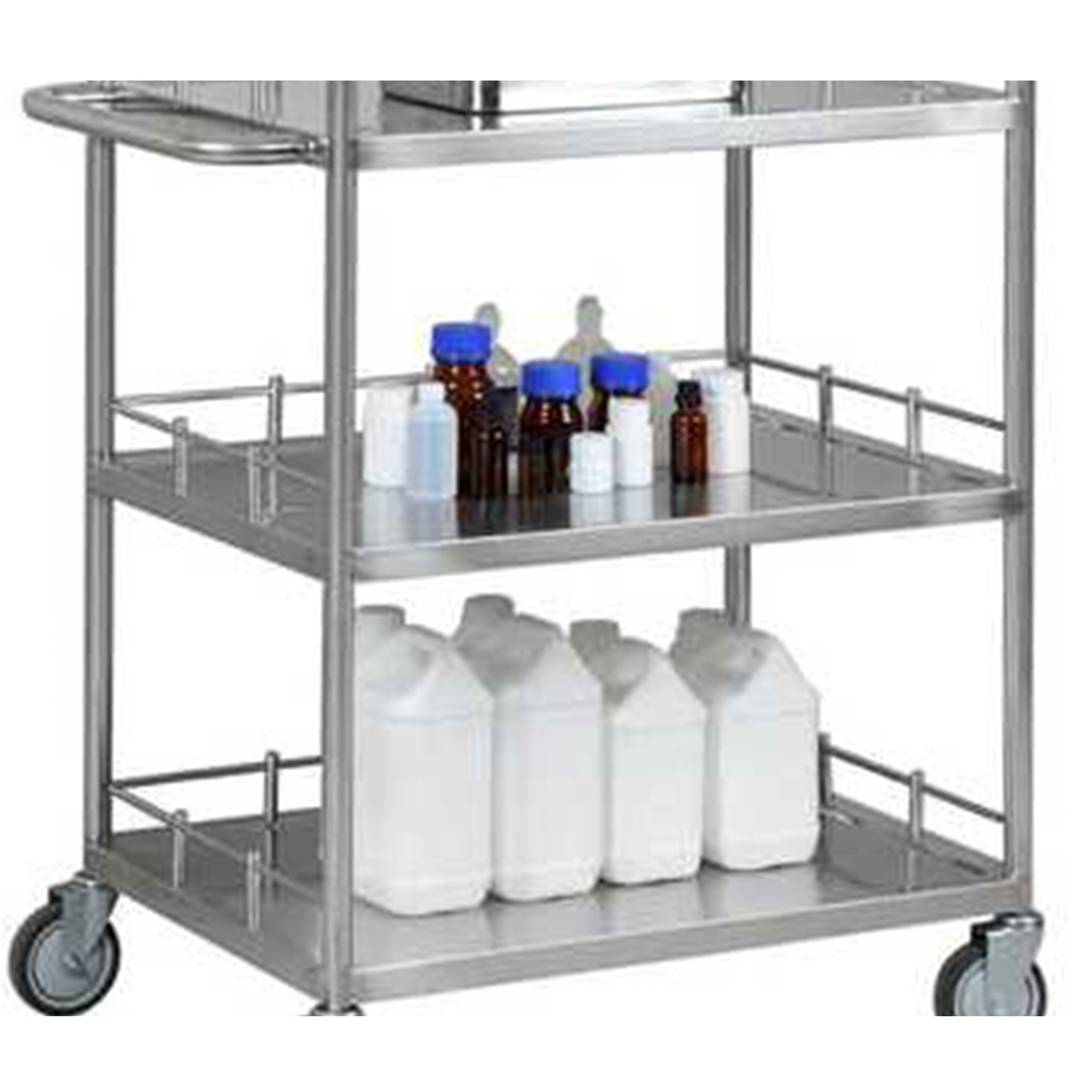 thumbnail 60 - Rolling Storage Cart Medical Salon Trolley Pedestal Rolling Cart Stainless Steel