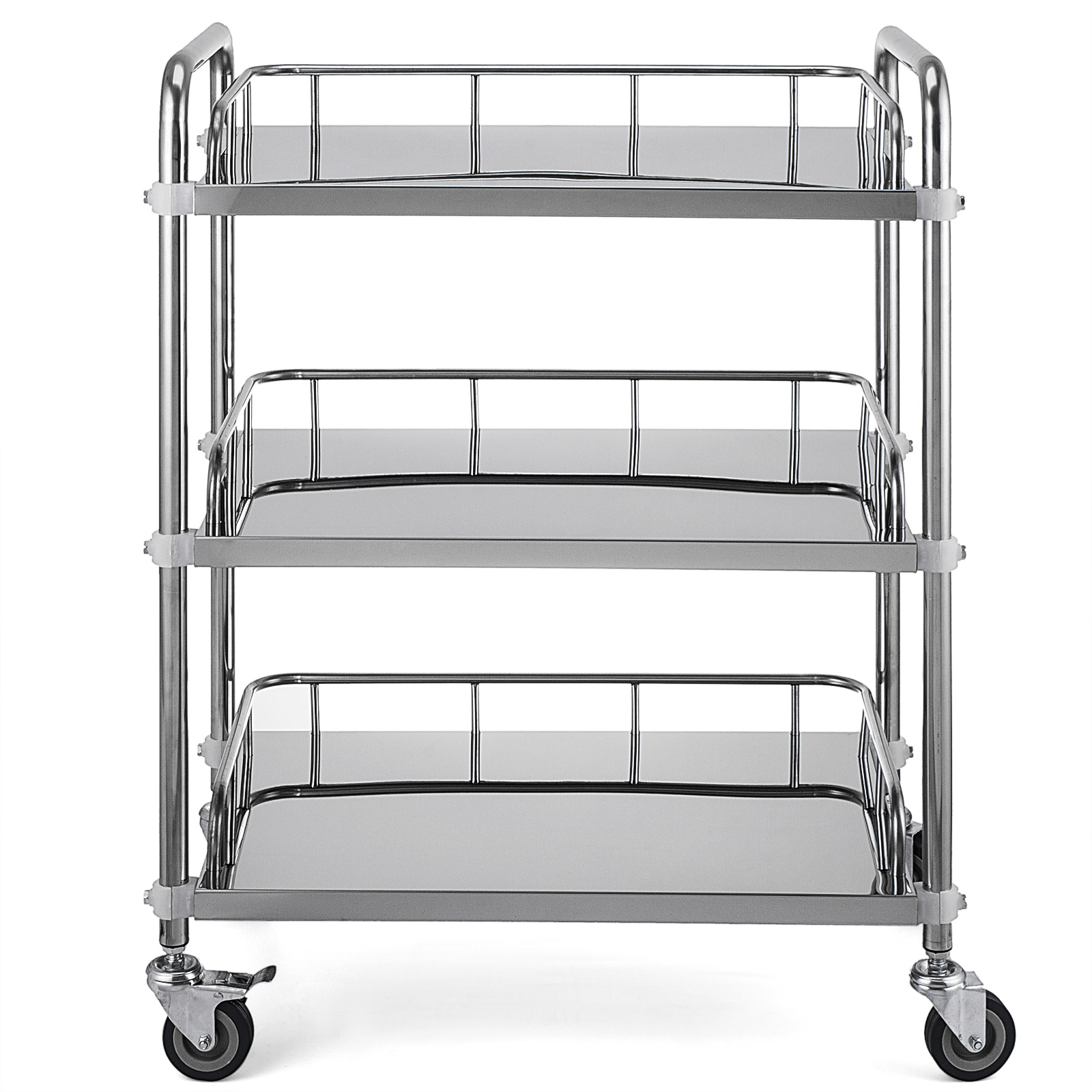 thumbnail 51 - Rolling Storage Cart Medical Salon Trolley Pedestal Rolling Cart Stainless Steel