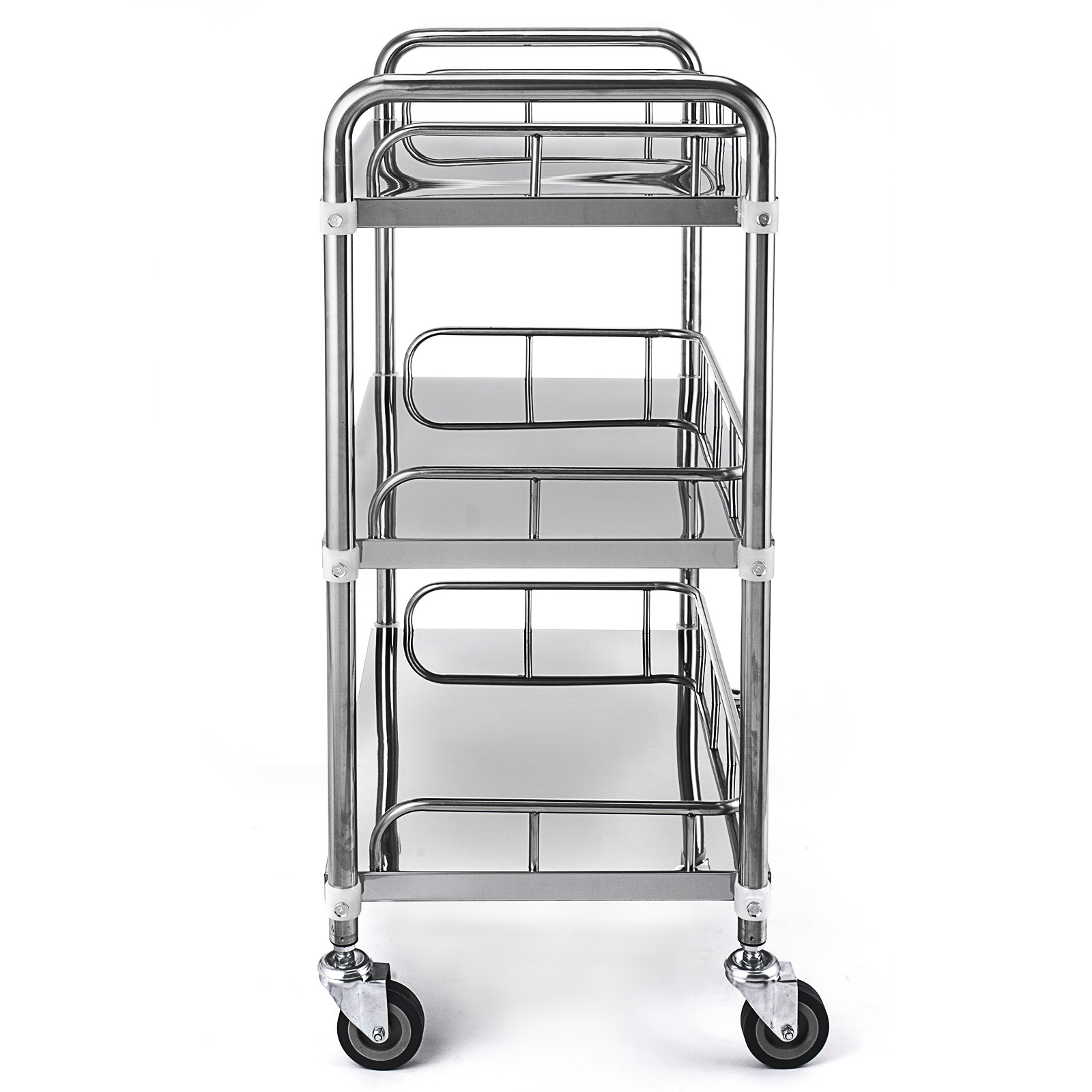 thumbnail 52 - Rolling Storage Cart Medical Salon Trolley Pedestal Rolling Cart Stainless Steel