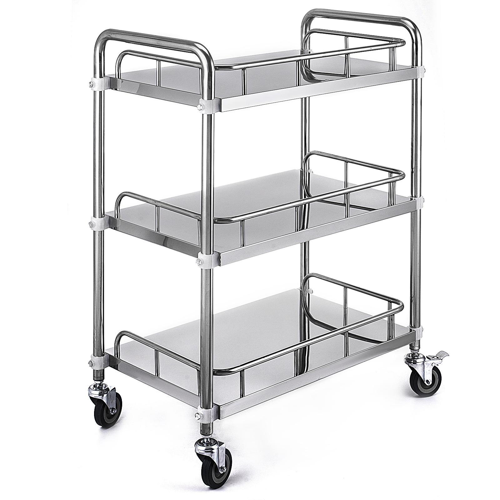 thumbnail 53 - Rolling Storage Cart Medical Salon Trolley Pedestal Rolling Cart Stainless Steel