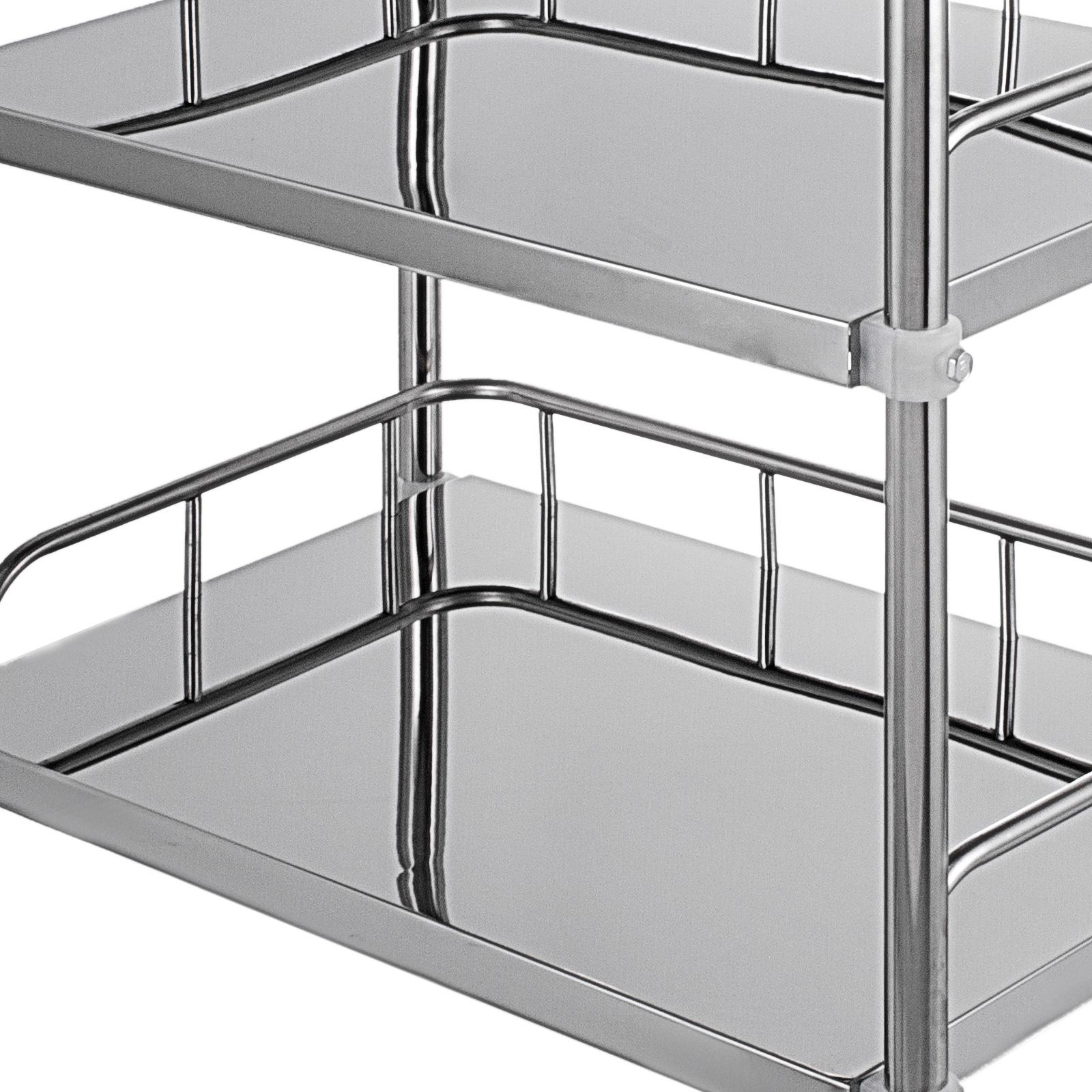 thumbnail 55 - Rolling Storage Cart Medical Salon Trolley Pedestal Rolling Cart Stainless Steel