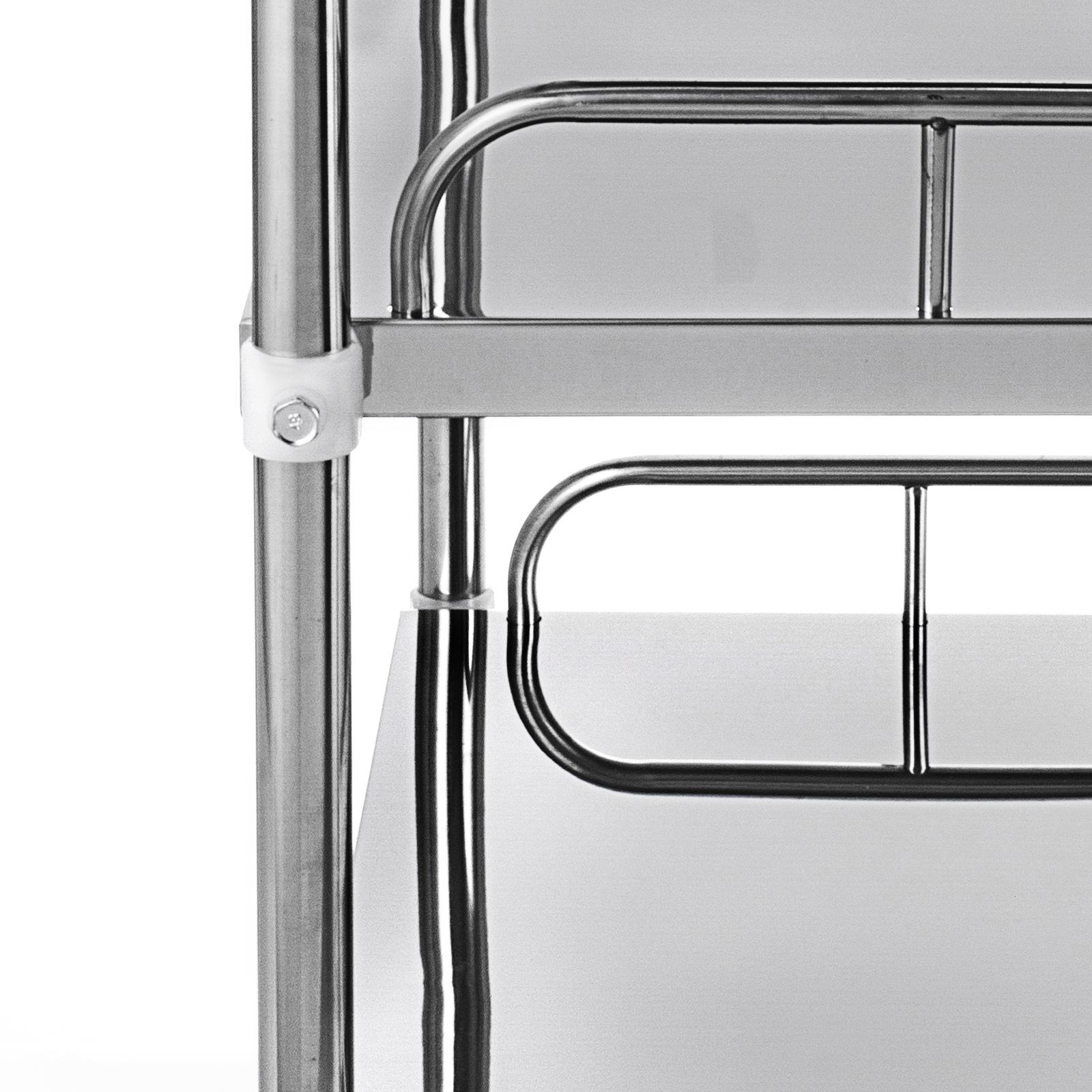 thumbnail 57 - Rolling Storage Cart Medical Salon Trolley Pedestal Rolling Cart Stainless Steel