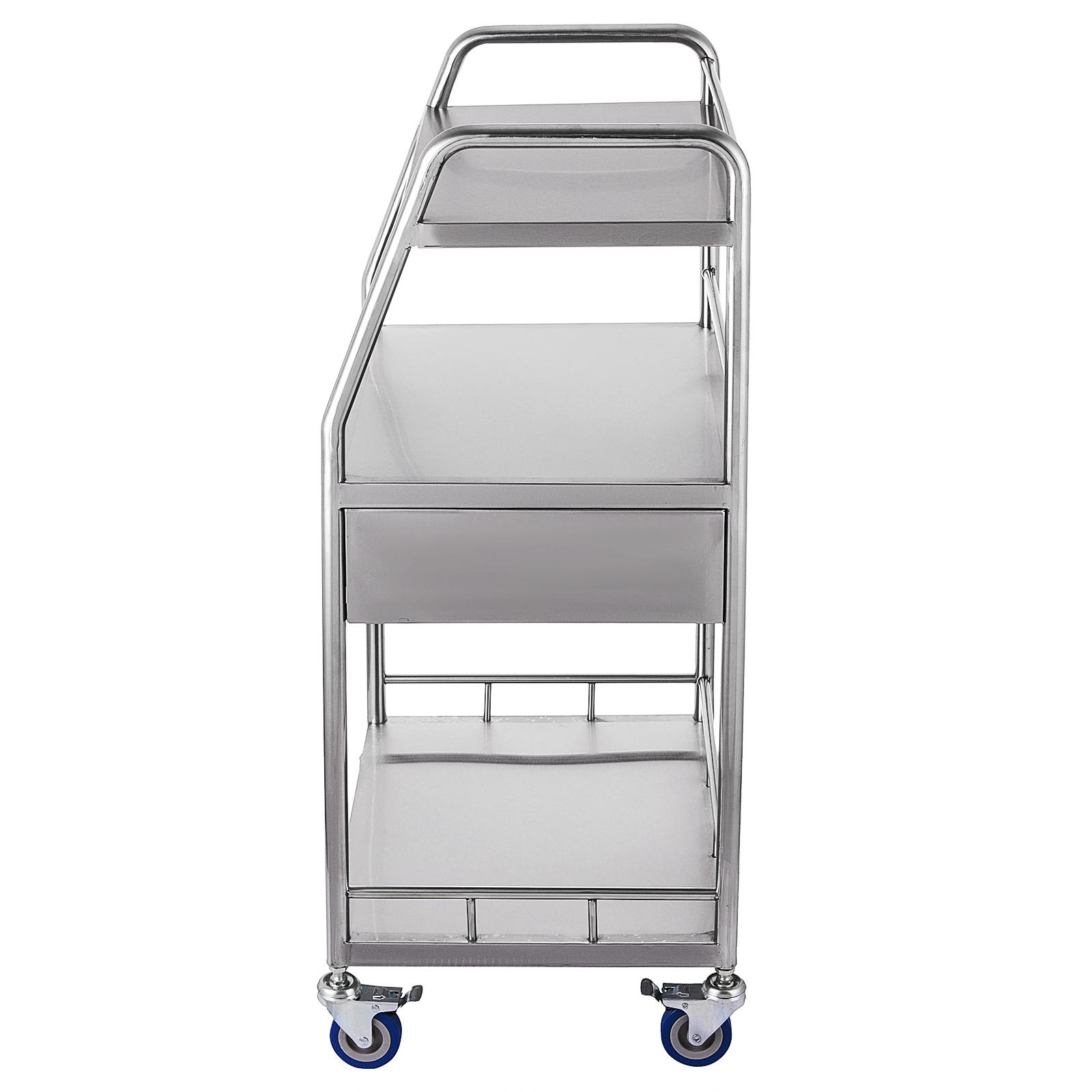 thumbnail 71 - Rolling Storage Cart Medical Salon Trolley Pedestal Rolling Cart Stainless Steel