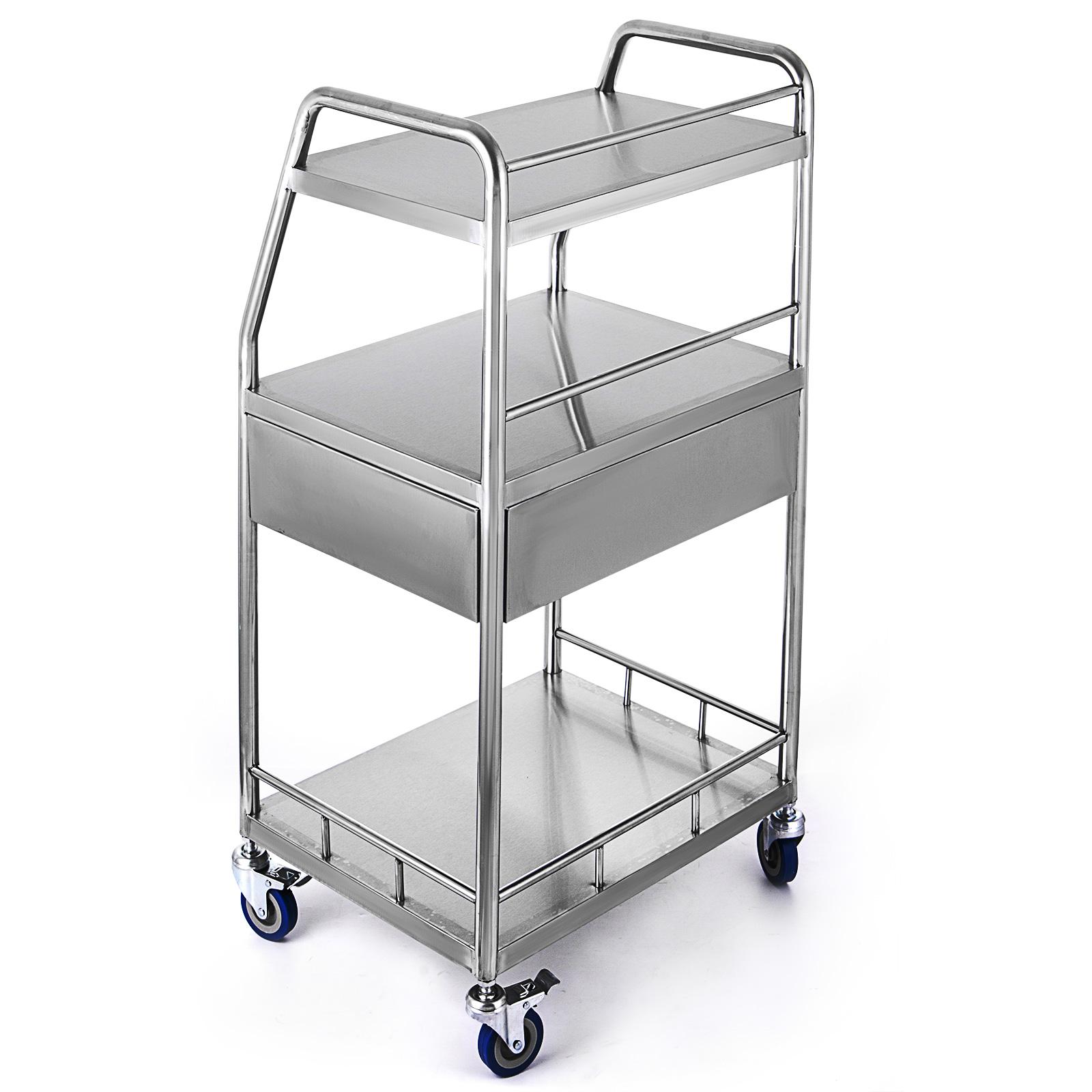 thumbnail 72 - Rolling Storage Cart Medical Salon Trolley Pedestal Rolling Cart Stainless Steel