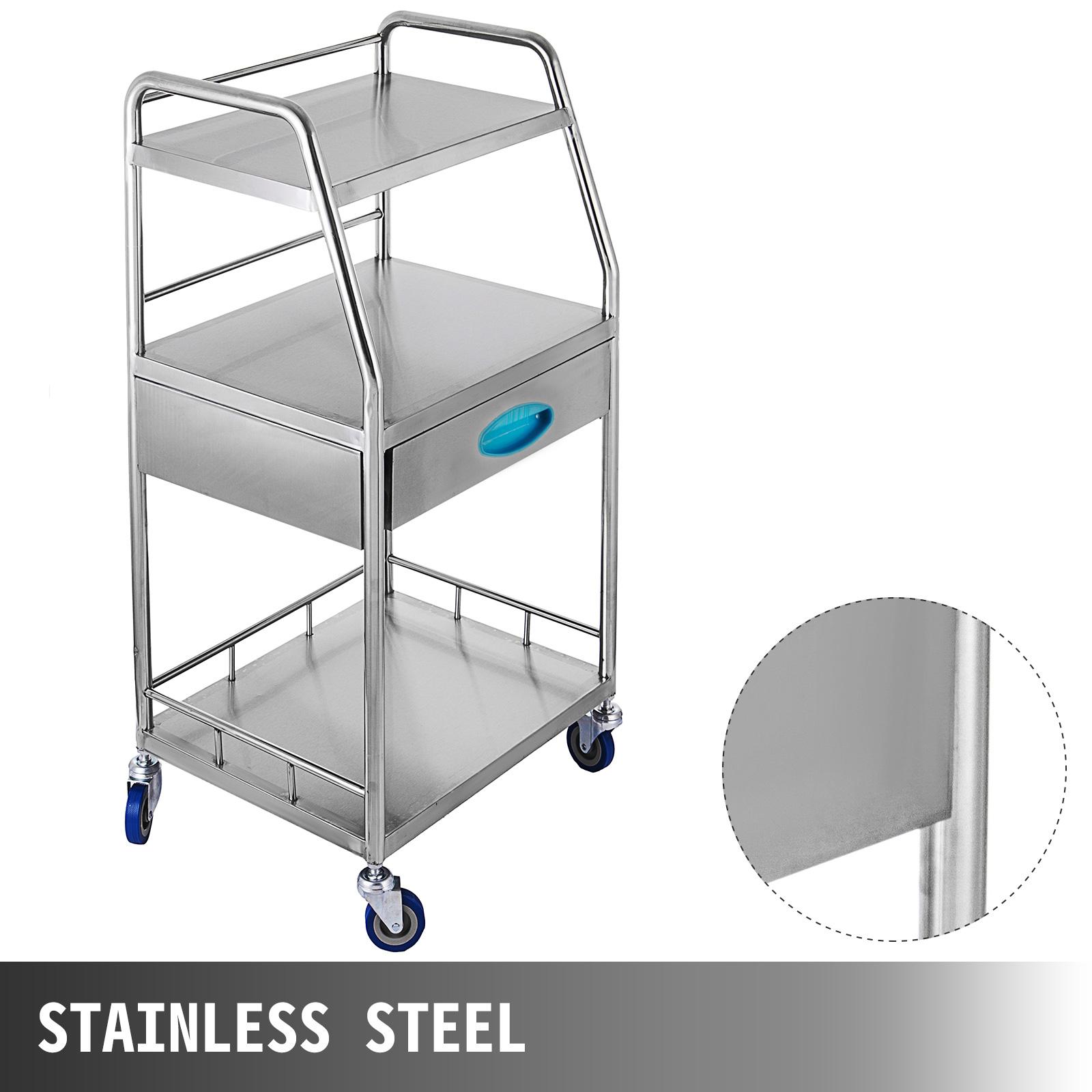 thumbnail 62 - Rolling Storage Cart Medical Salon Trolley Pedestal Rolling Cart Stainless Steel