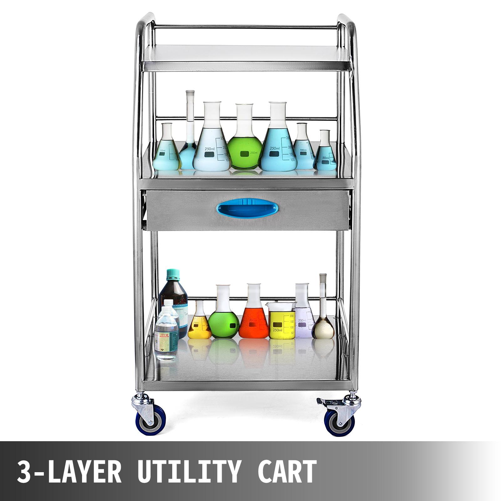 thumbnail 63 - Rolling Storage Cart Medical Salon Trolley Pedestal Rolling Cart Stainless Steel