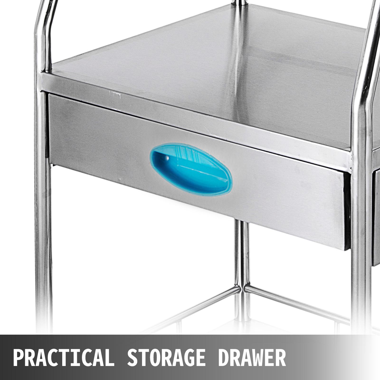 thumbnail 64 - Rolling Storage Cart Medical Salon Trolley Pedestal Rolling Cart Stainless Steel