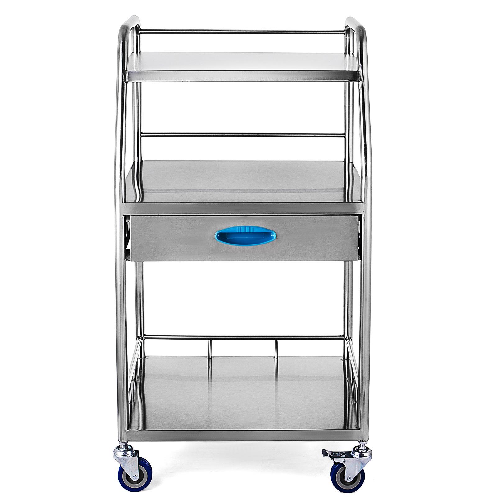 thumbnail 69 - Rolling Storage Cart Medical Salon Trolley Pedestal Rolling Cart Stainless Steel