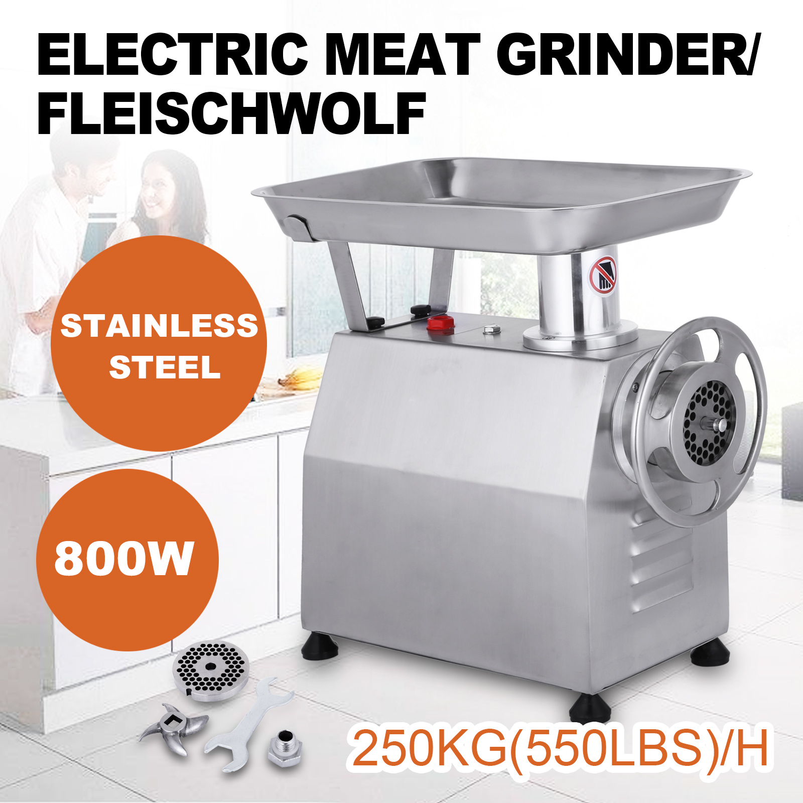 800w Meat Grinder Electric 551lbs//h Industrial Meat Grinder