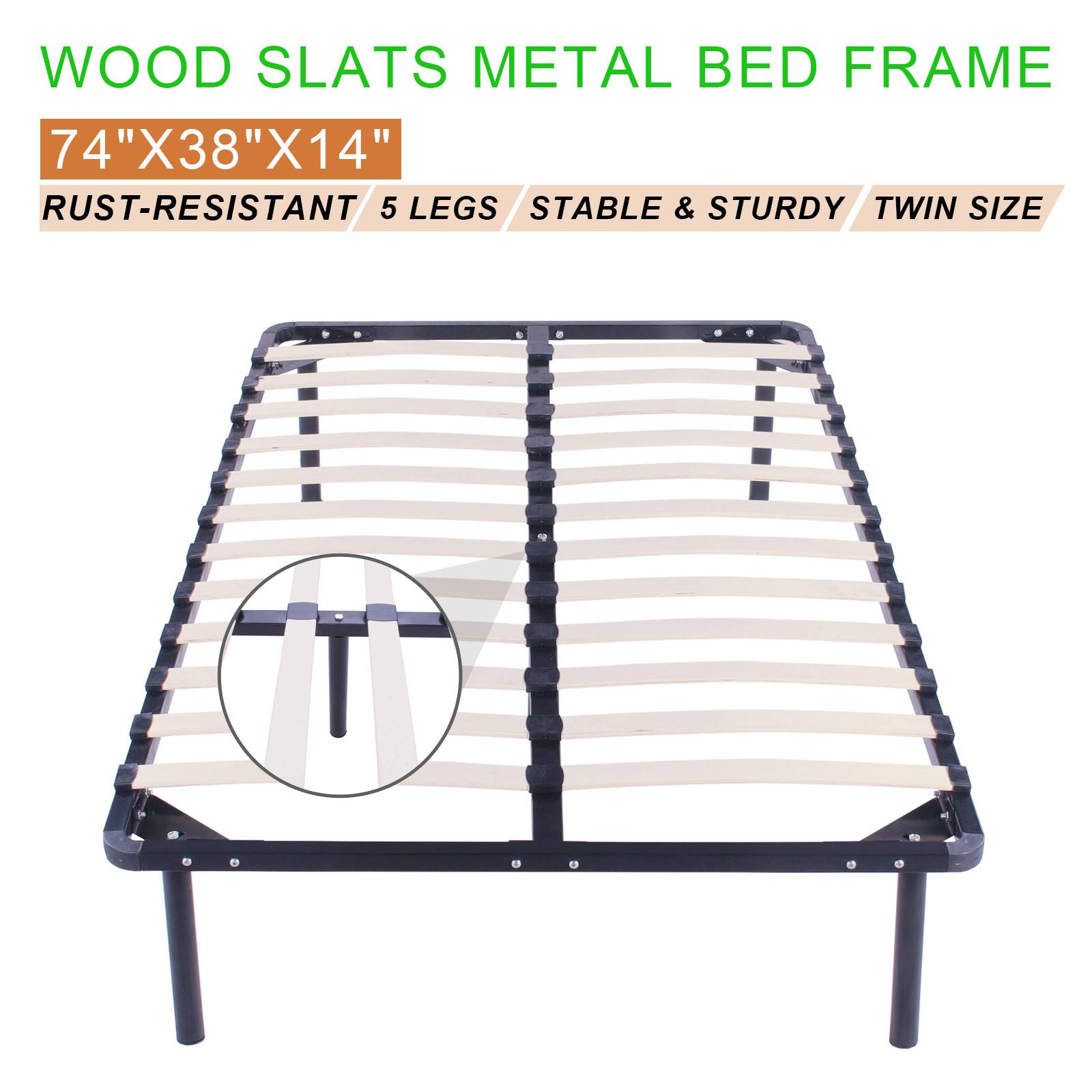 Twin Size Wood Slats Metal Bed Frame Platform Bedroom Mattress ...