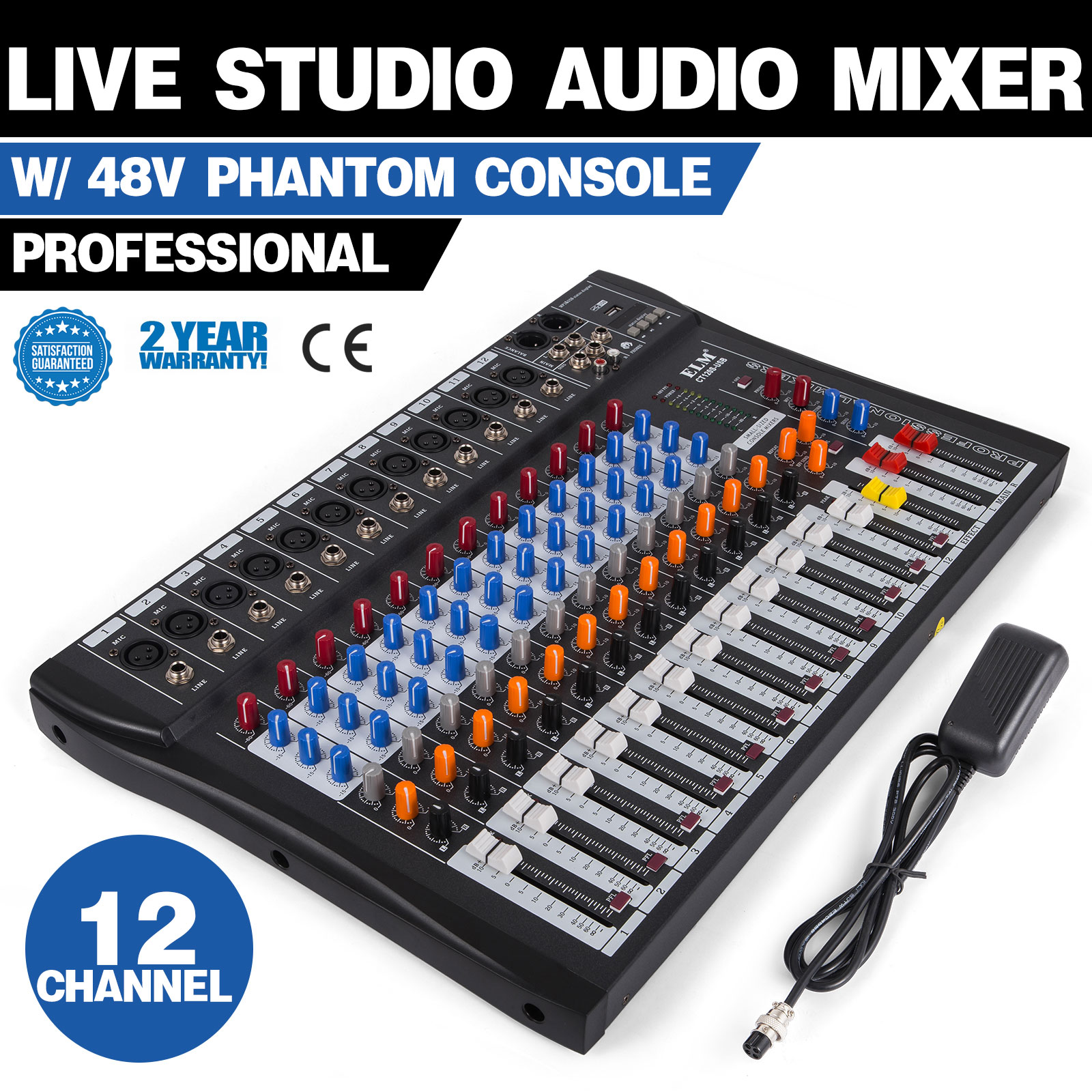 Details about 120S-USB 12 Channel Live Studio Audio Mixer Mixing Console  Phantom Power X7W8