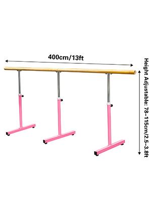 13FT Ballet Barre Freestanding Bar Adjustable Single Bar Dance Stretch Training