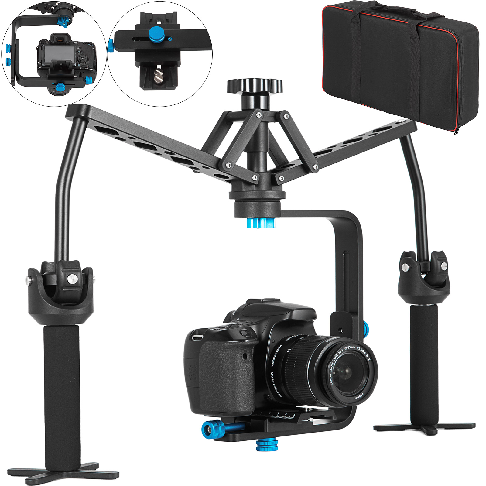 Universal Handheld Stabilizer Video Spider Substitute Steady Rig with 1//4 in and 3//8 in Screw Holes for Camera Camcorder Black Handheld Stabilizer