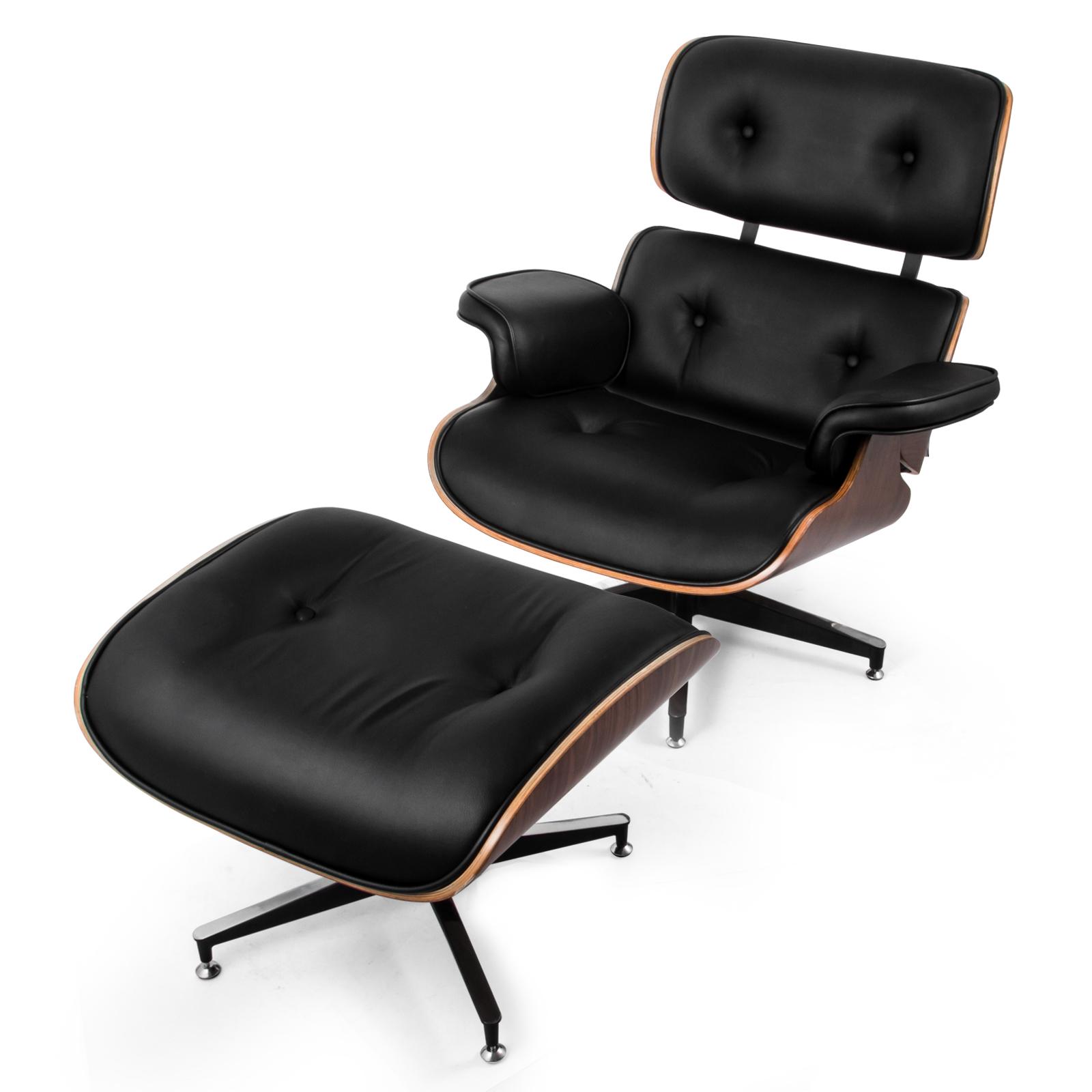 Klassischer Lounge Chair Und Ottomane Pu Leder In Schwarz