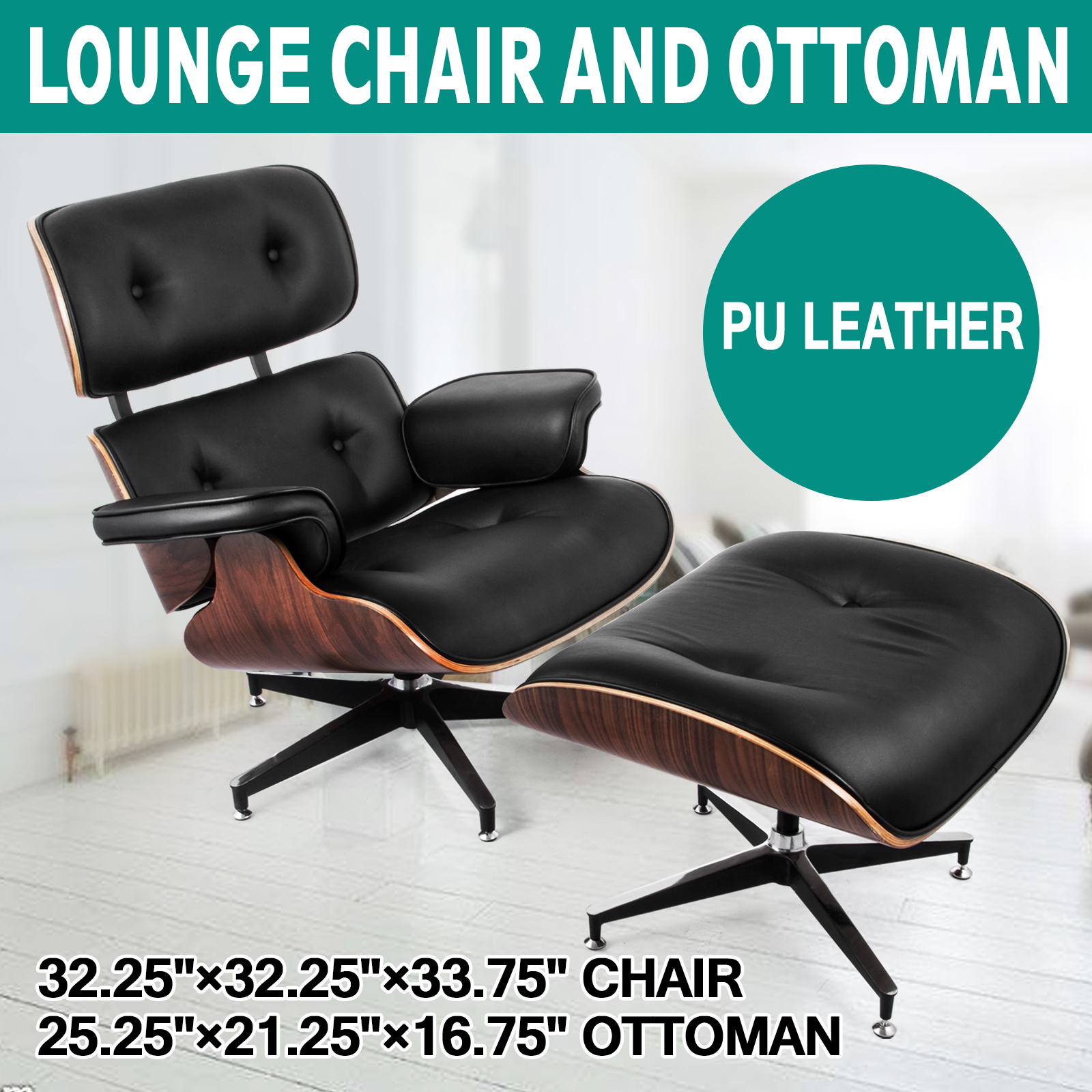 Remarkable Details About Eames Style Lounge Chair Ottoman Eames 100 Pu Leather Chair Black Rosewood Squirreltailoven Fun Painted Chair Ideas Images Squirreltailovenorg