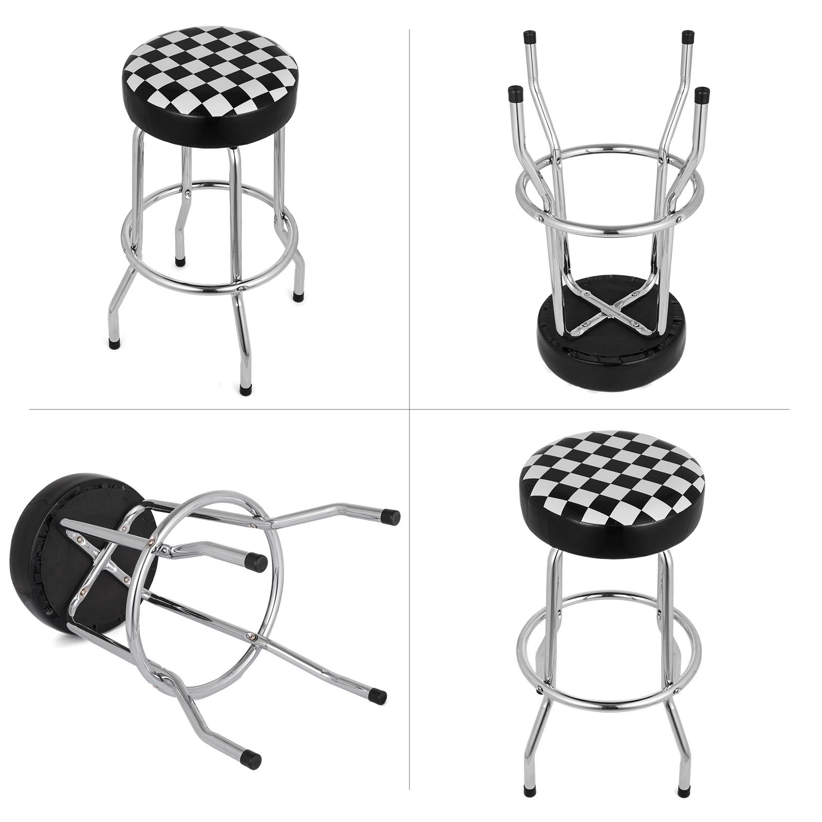 Astonishing Shop Stool With Checkered Flag Design Adjustable Height Ibusinesslaw Wood Chair Design Ideas Ibusinesslaworg