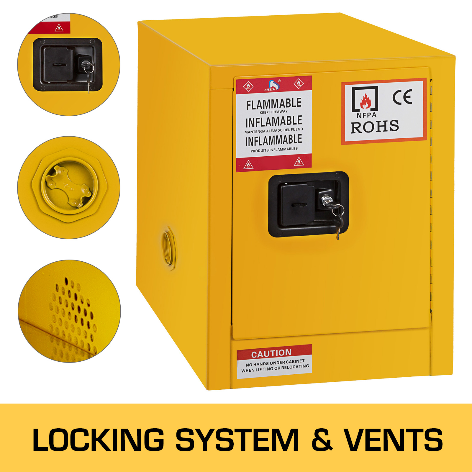 Details About 12 Gal Capacity Safety Storage Cabinet For Flammable Liquids 1 Manual Doors