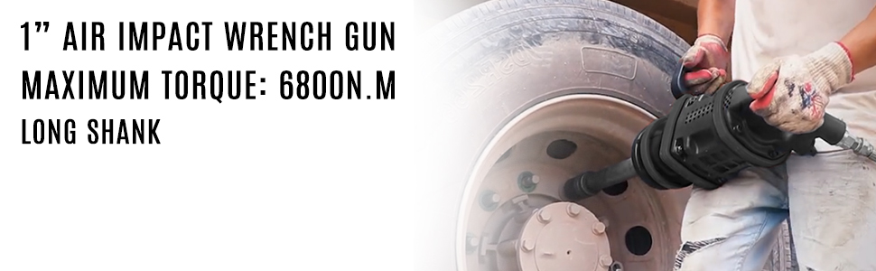 """5020ft.lb Air Impact Wrench 1/"""" Drive Pneumatic Wrench 8/"""" Extended Anvil 2 Socket"""