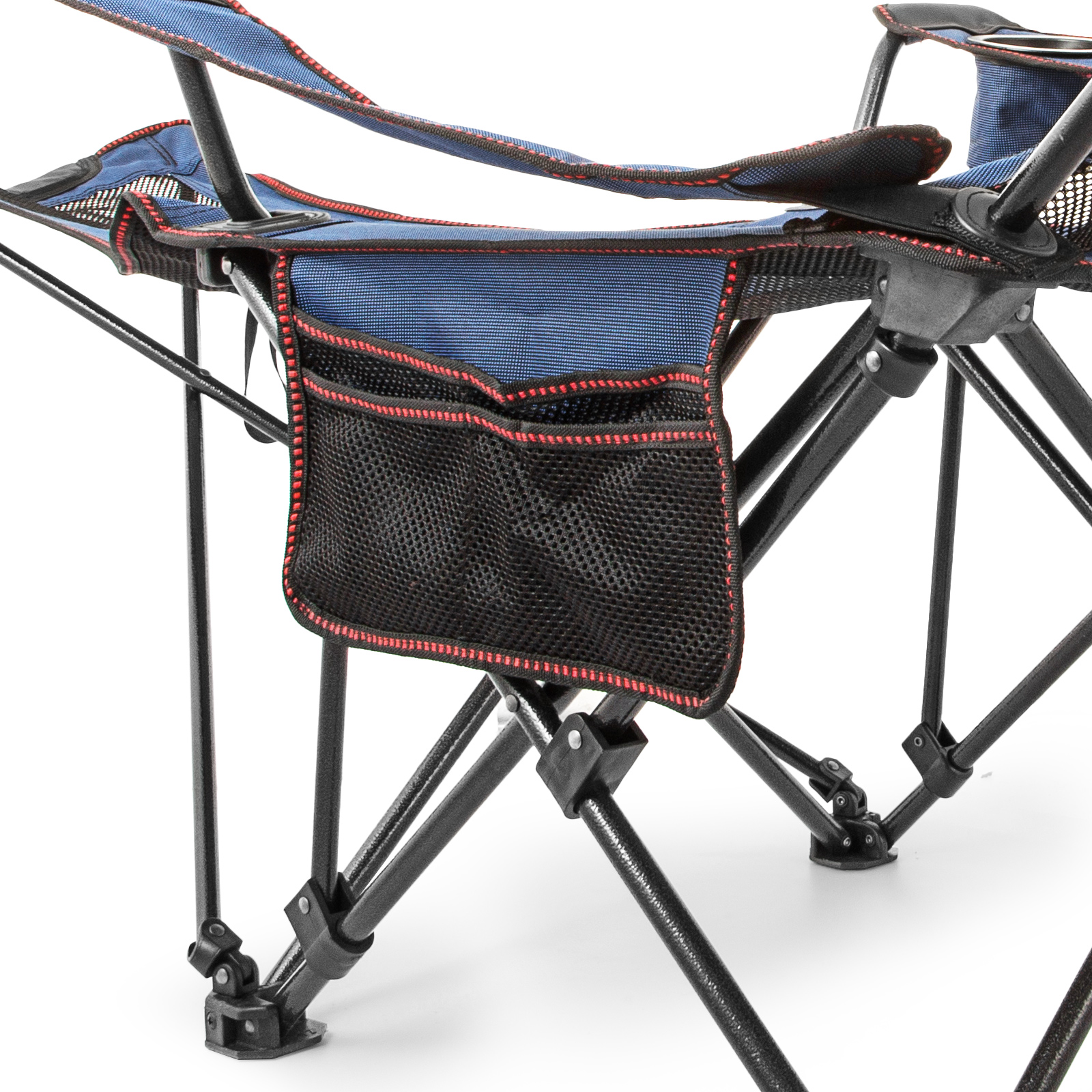Blue Reclining Folding Camp Chair With Footrest Cup Holder