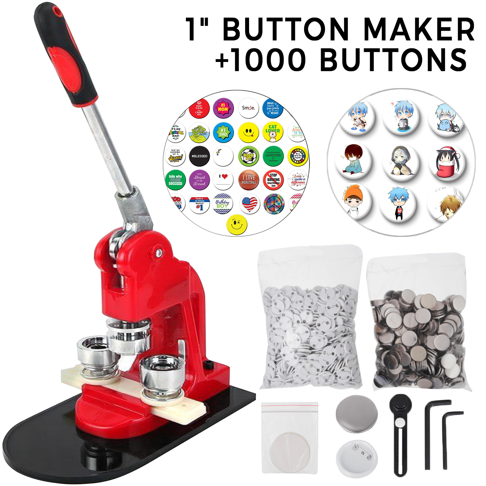 Circle Cutter Badge Maker Machine Badge Button Maker+1,000Set Pin Back Supplies