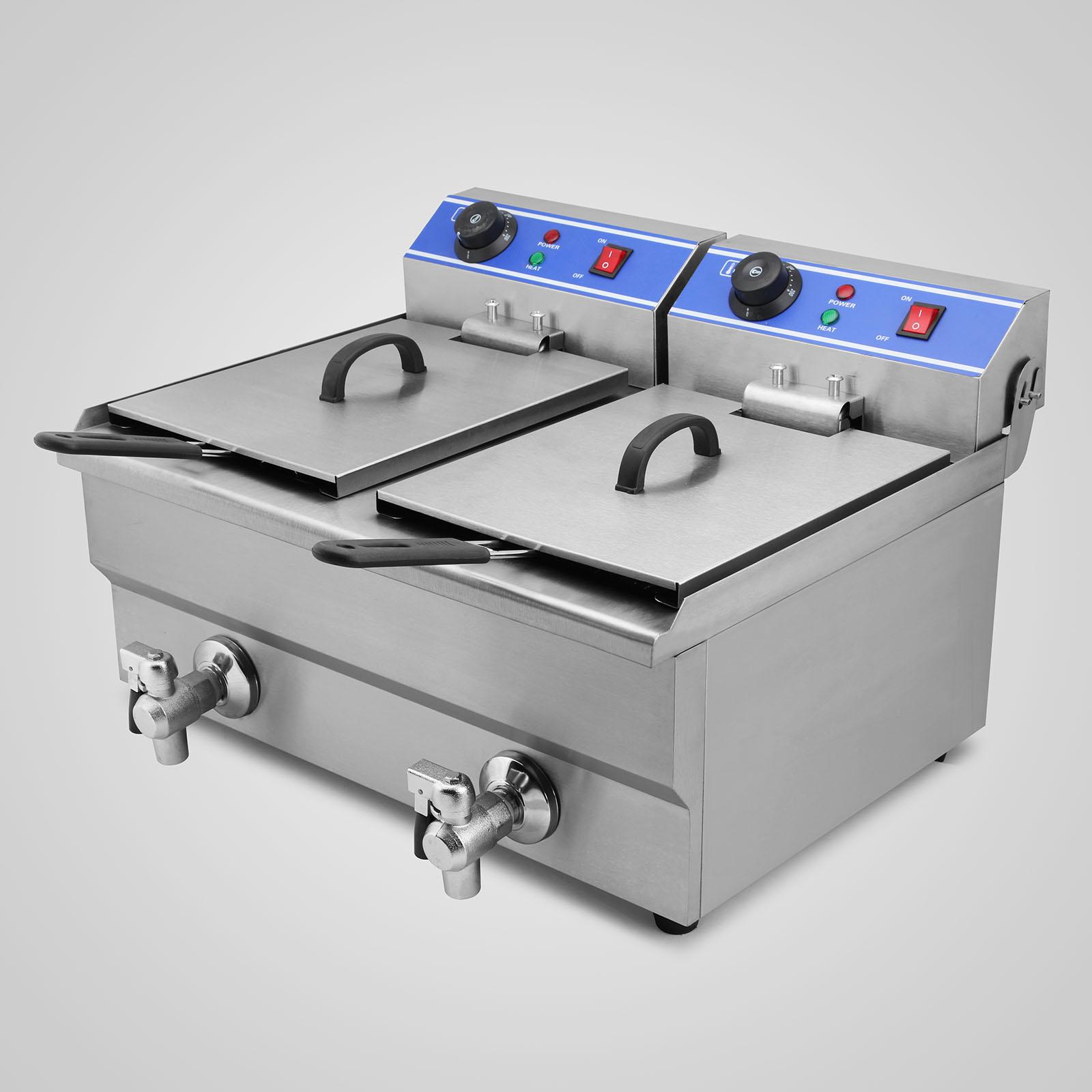 20L Electric Deep Fryer Dual Tank Commercial Restaurant