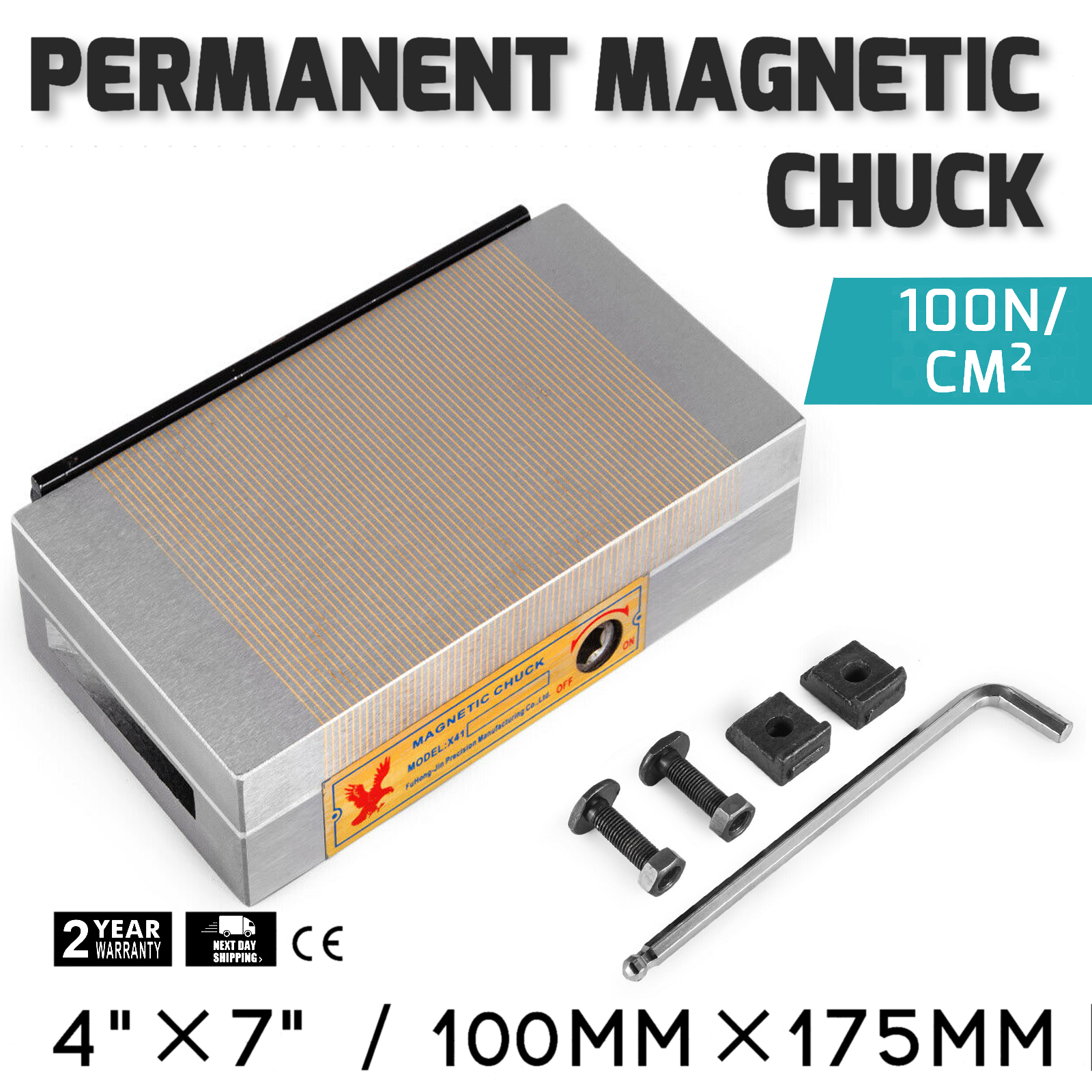 "4/""X7/"" PERMANENT MAGNETIC CHUCKS //FINE POLE NEW"