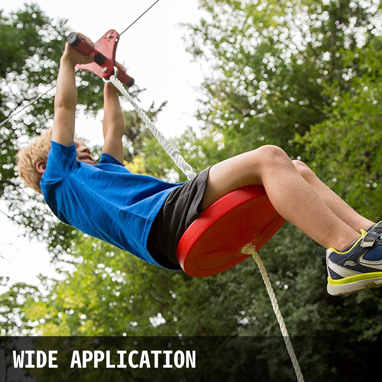 Zipline Kit 45ft Trees Steel Seated Zipline Kit Eagle Series Cable Backyard