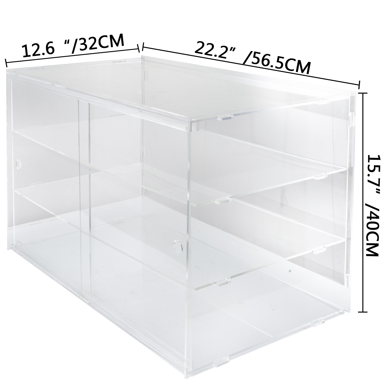thumbnail 176 - 2-3-4-Shelves-Acrylic-Display-Cabinet-Glued-Unassembled-Bakery-Clear-Pastry