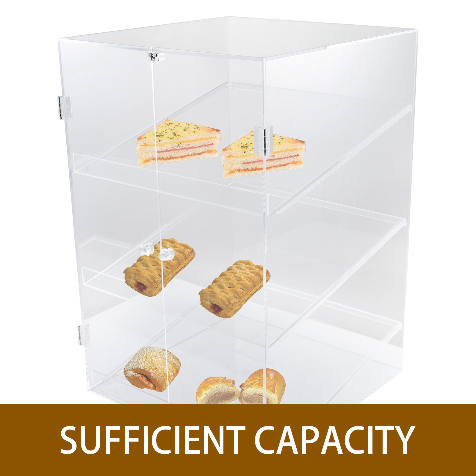 thumbnail 26 - 2-3-4-Shelves-Acrylic-Display-Cabinet-Glued-Unassembled-Bakery-Clear-Pastry