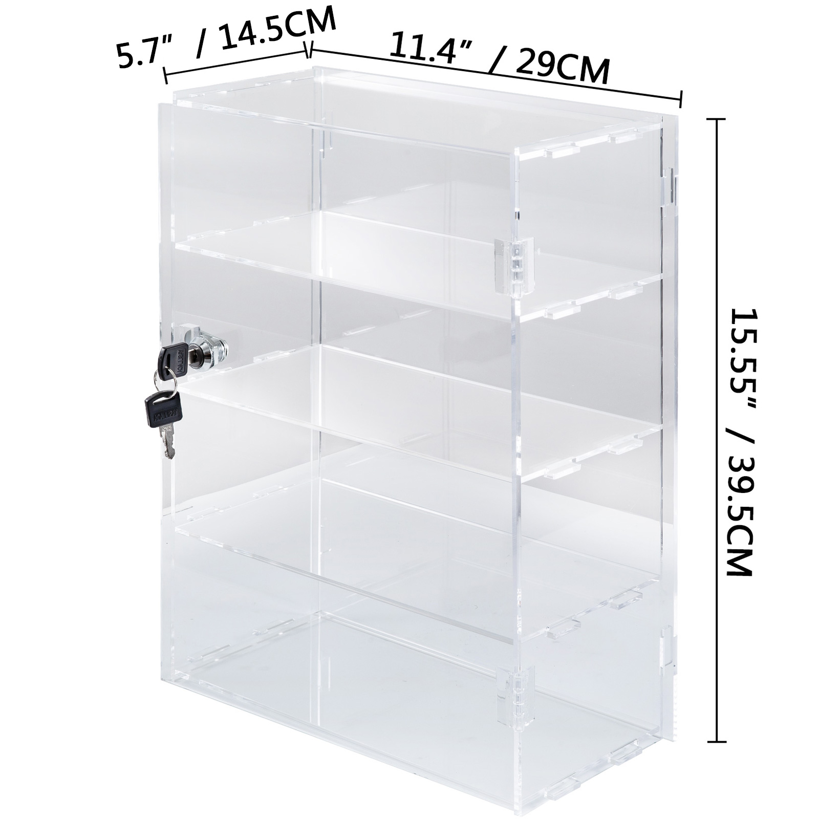 thumbnail 116 - 2-3-4-Shelves-Acrylic-Display-Cabinet-Glued-Unassembled-Bakery-Clear-Pastry