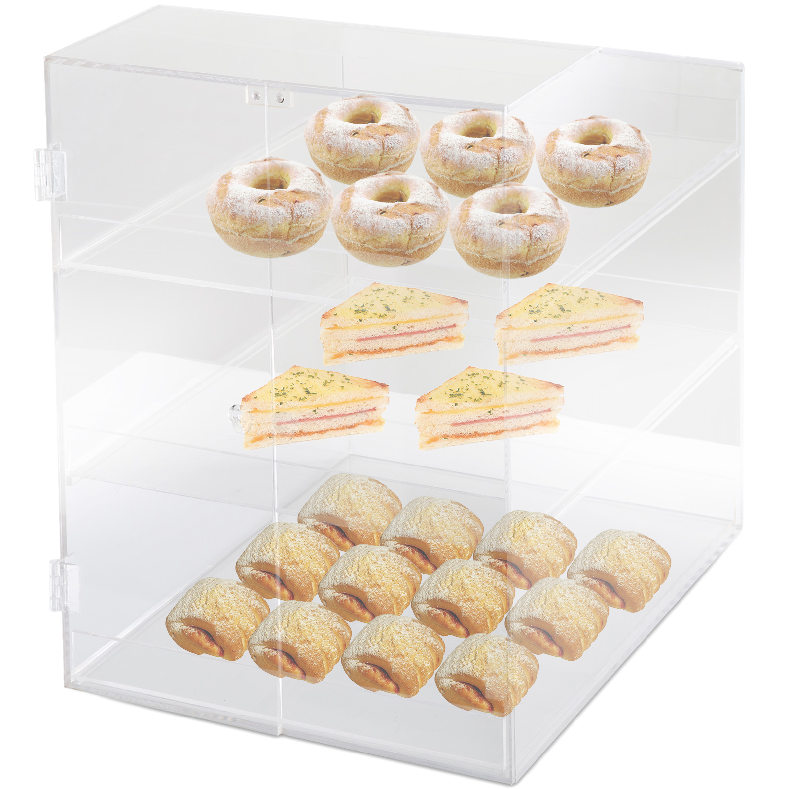 thumbnail 37 - 2-3-4-Shelves-Acrylic-Display-Cabinet-Glued-Unassembled-Bakery-Clear-Pastry