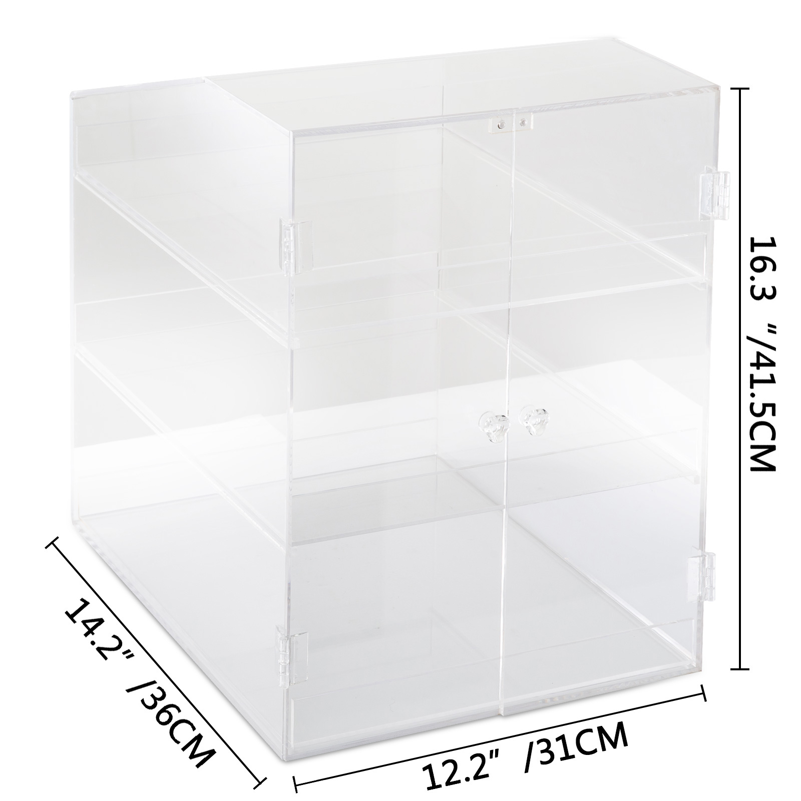thumbnail 44 - 2-3-4-Shelves-Acrylic-Display-Cabinet-Glued-Unassembled-Bakery-Clear-Pastry