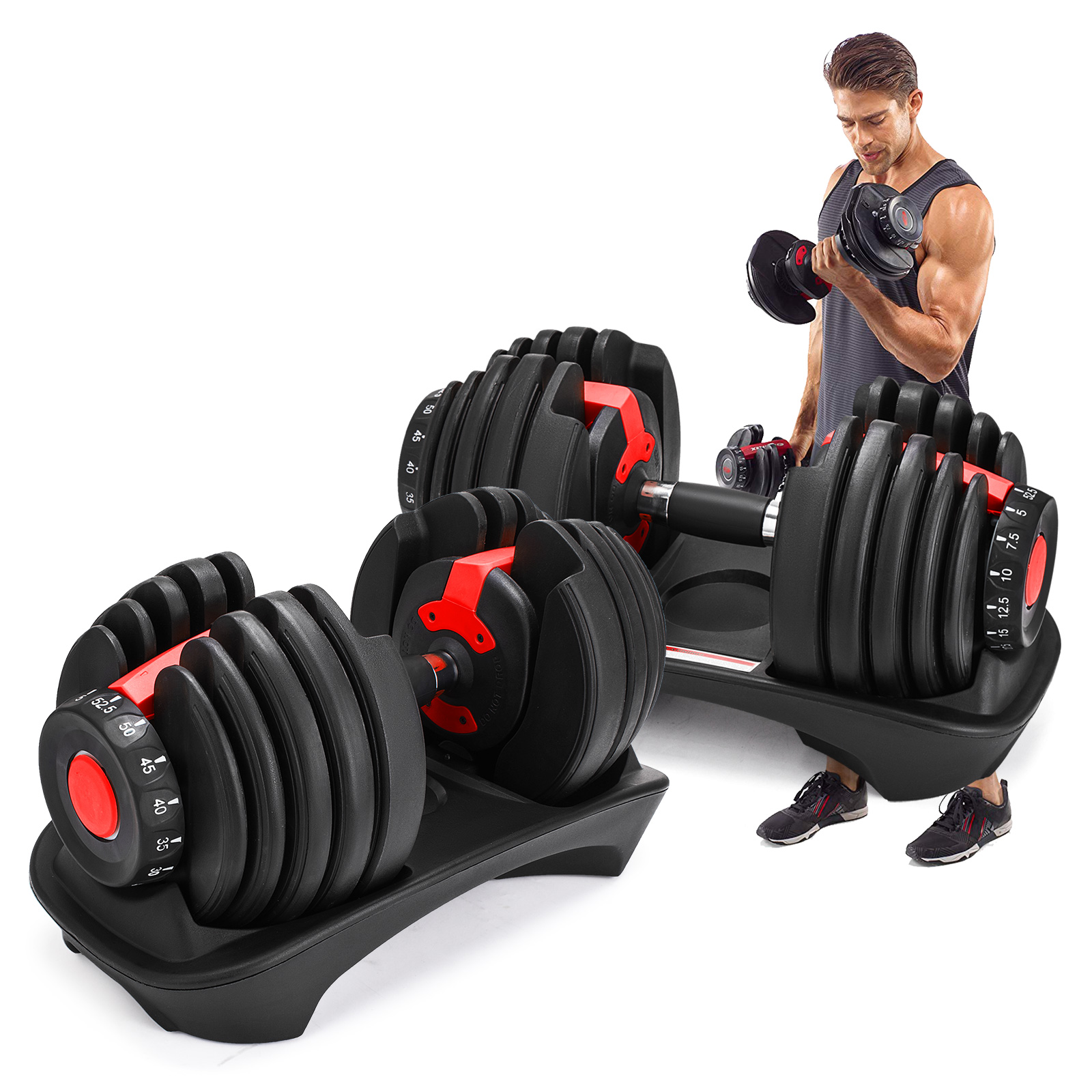 06a5abbf959 Details about Selectable Dumbbells Set - Adjustable Weights for Home Gym  Training - 24kg